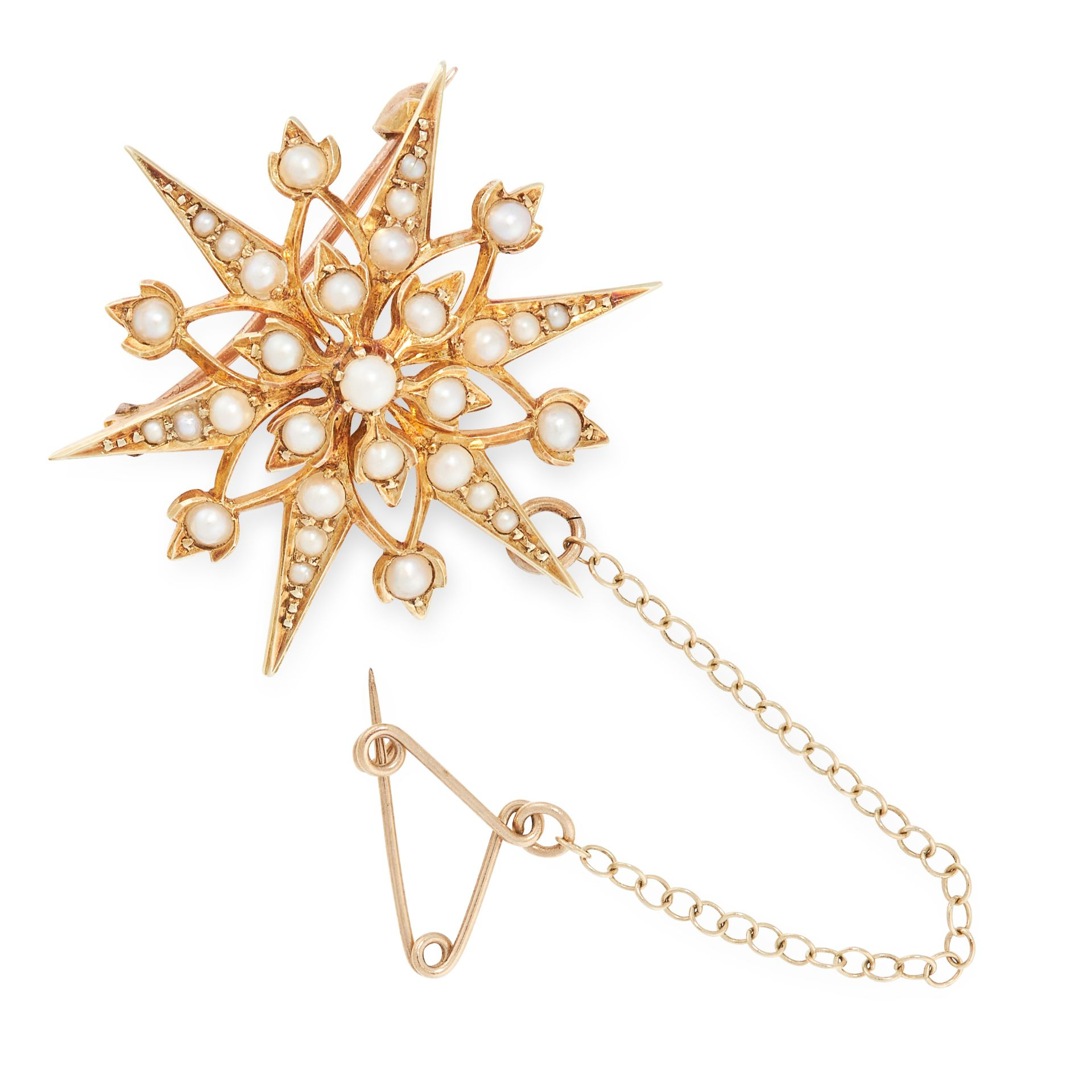 AN ANTIQUE VICTORIAN PEARL STAR BROOCH in 15ct yellow gold, in foliate and star design, set with