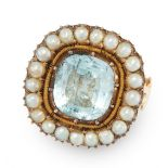 AN AQUAMARINE AND PEARL DRESS RING in 18ct yellow gold, the antique face set with a cushion cut