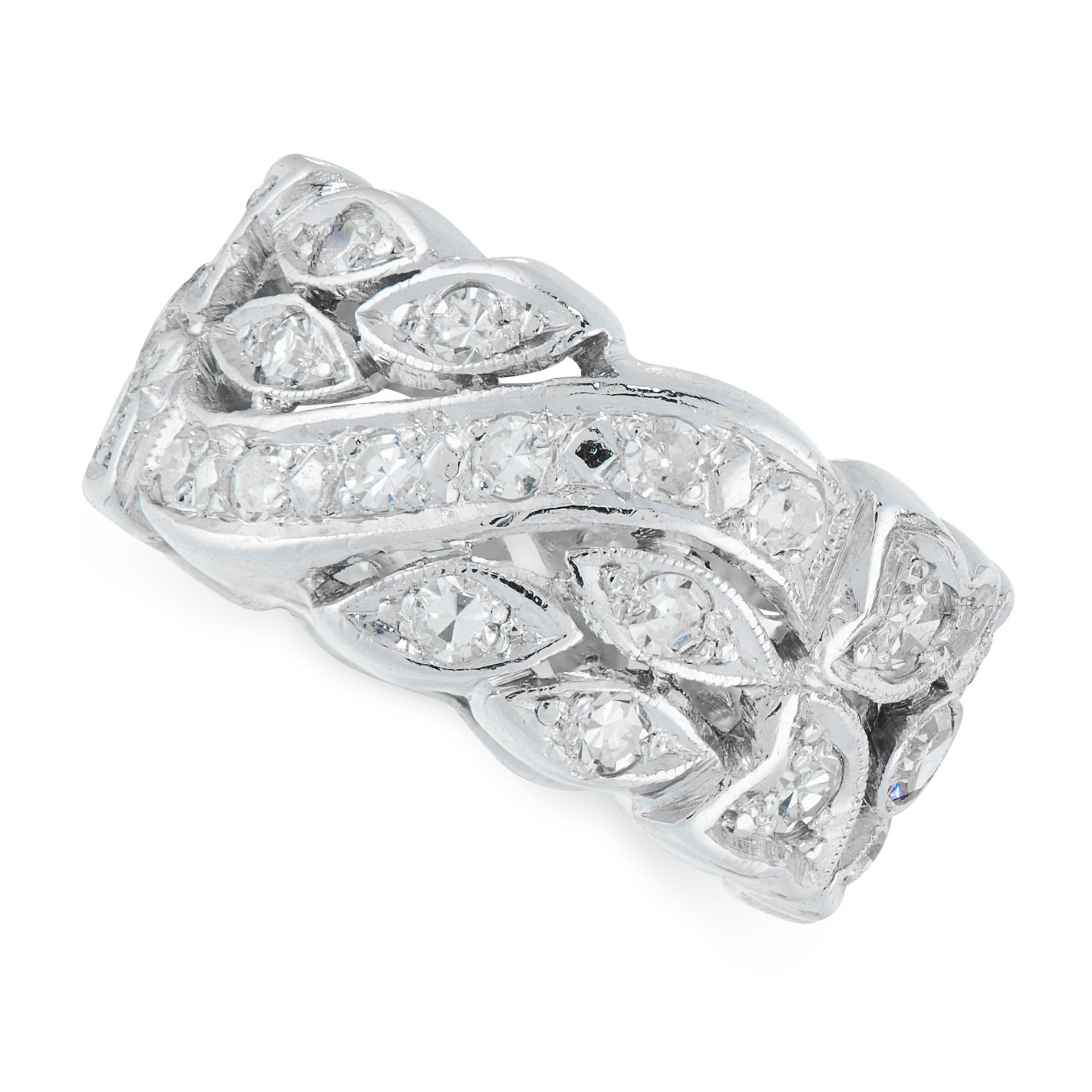A DIAMOND BAND RING in open framework, set with round cut diamonds, unmarked, size K / 5.25, 6.90g.