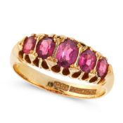 AN ANTIQUE GARNET FIVE STONE RING in 18ct yellow gold, set with five graduated oval cut garnets,