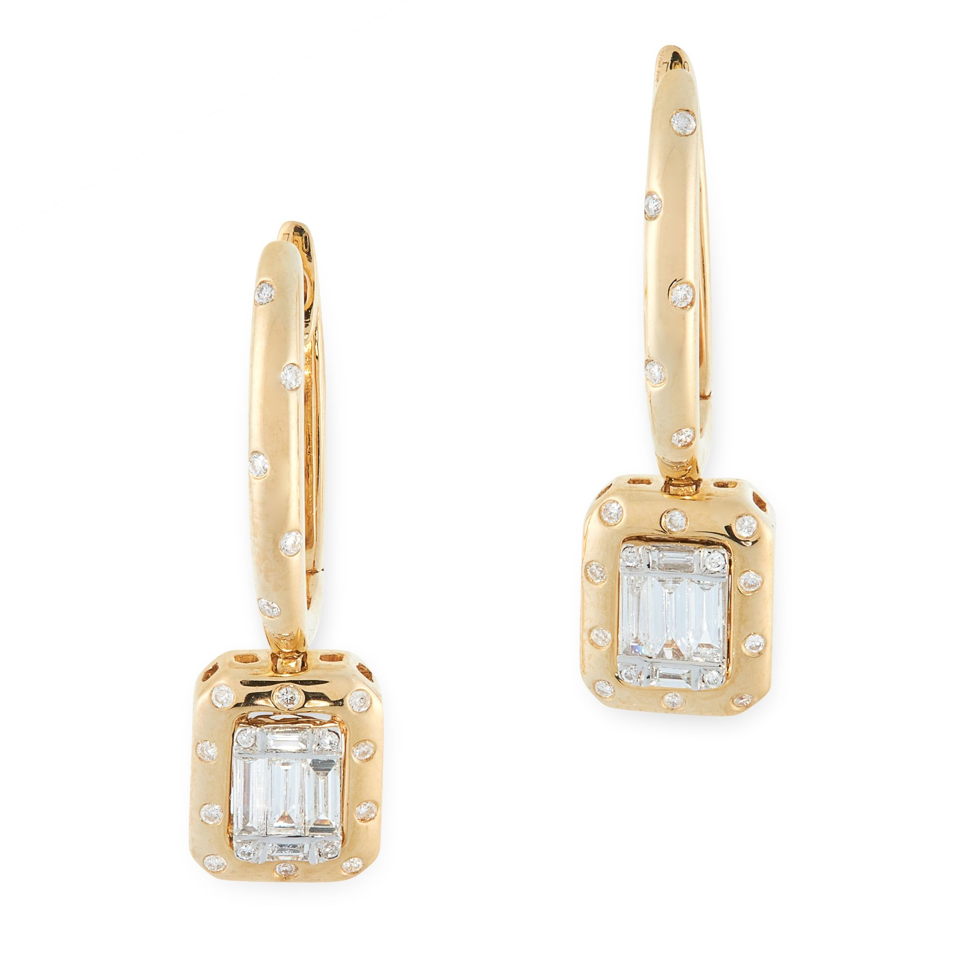 A PAIR OF DIAMOND DROP EARRINGS in 18ct yellow gold, each formed of a hoop jewelled with round cut