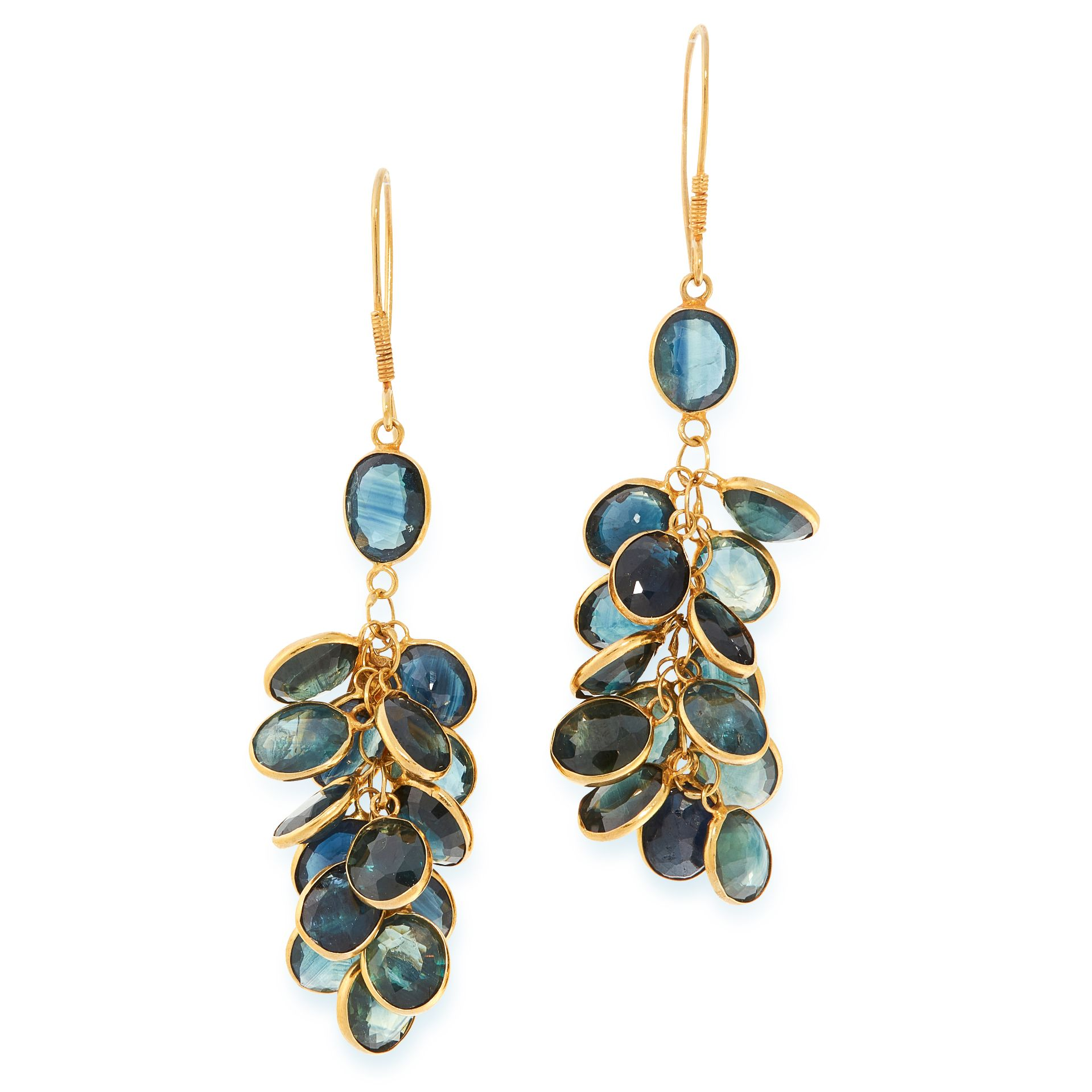 A PAIR OF SAPPHIRE CLUSTER EARRINGS in yellow gold, each set with an oval cut sapphire, suspending a