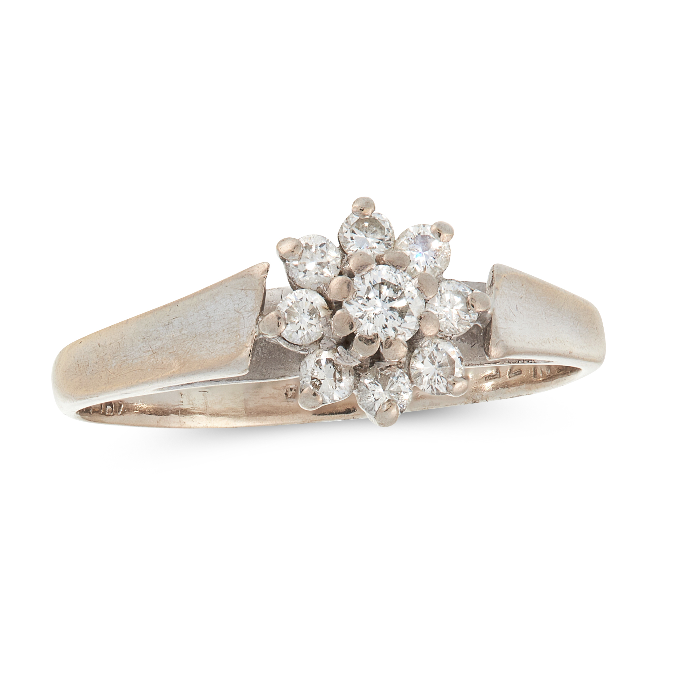 A DIAMOND CLUSTER RING in 18ct white gold, set with a cluster of round cut diamonds totalling 0.35