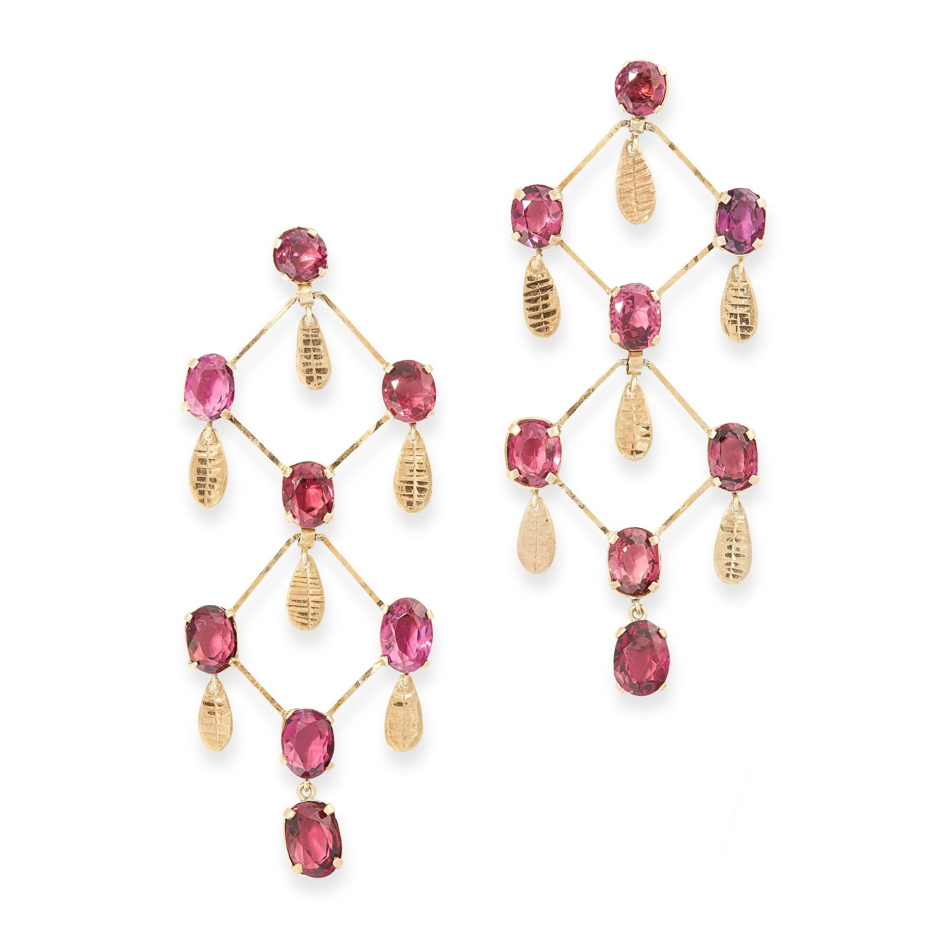 A PAIR OF GARNET CHANDELIER EARRINGS, EARLY 20TH CENTURY in yellow gold, the articulated body of