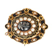 AN ANTIQUE HARDSTONE CAMEO, PEARL, ENAMEL AND HAIRWORK MOURNING LOCKET BROOCH, 19TH CENTURY in