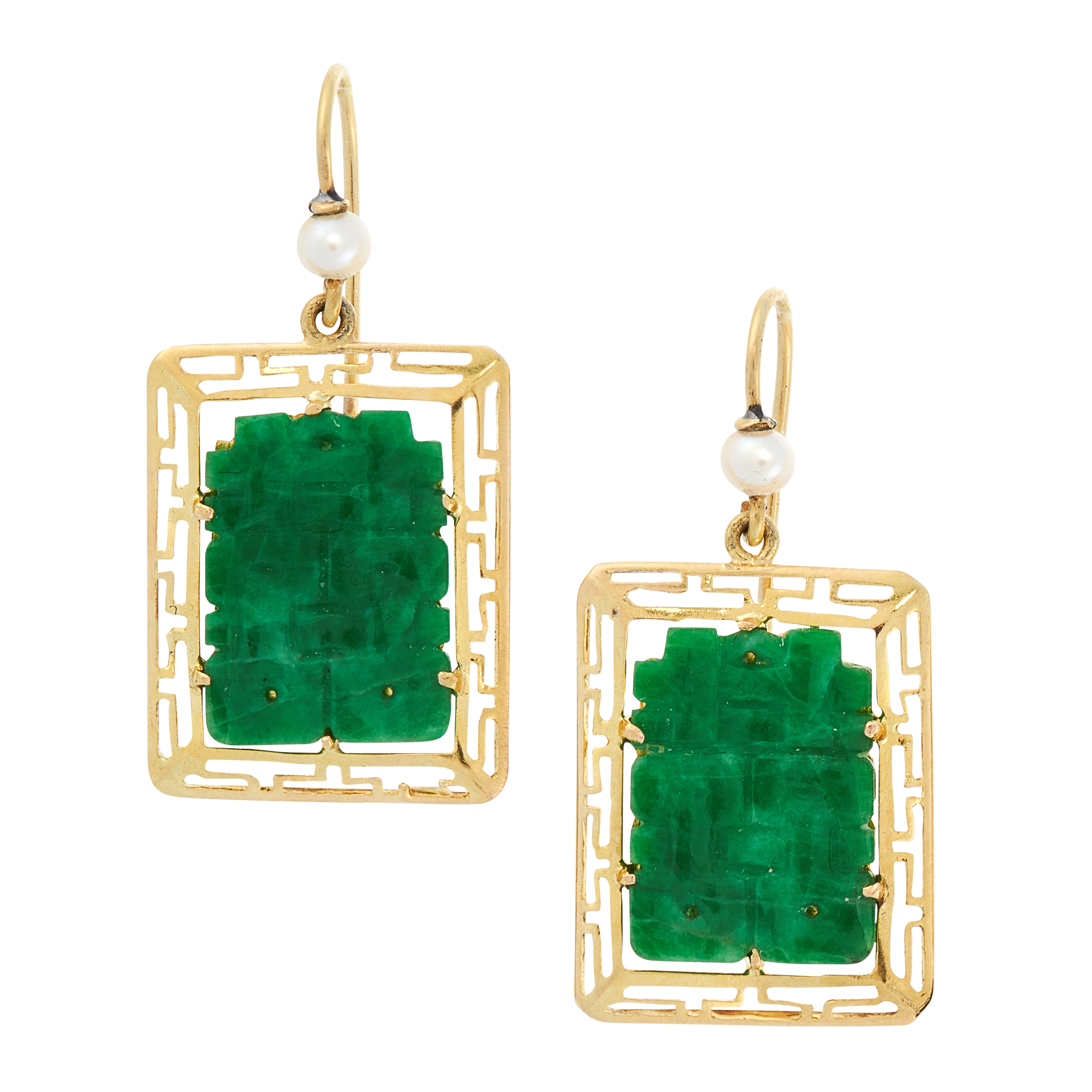 A PAIR OF PEARL AND JADE DROP EARRINGS in yellow gold, each set with a pearl above a rectangular