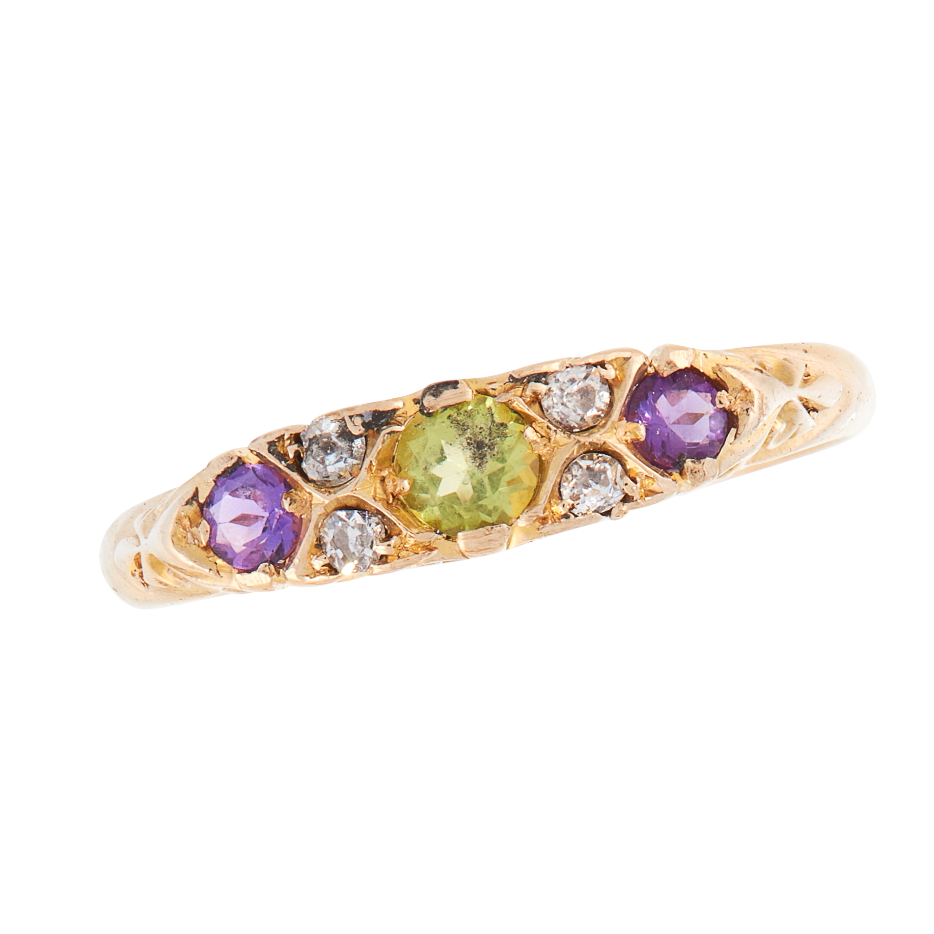 AN ANTIQUE AMETHYST, PERIDOT AND DIAMOND SUFFRAGETTE DRESS RING, 1908 in 18ct yellow gold, the