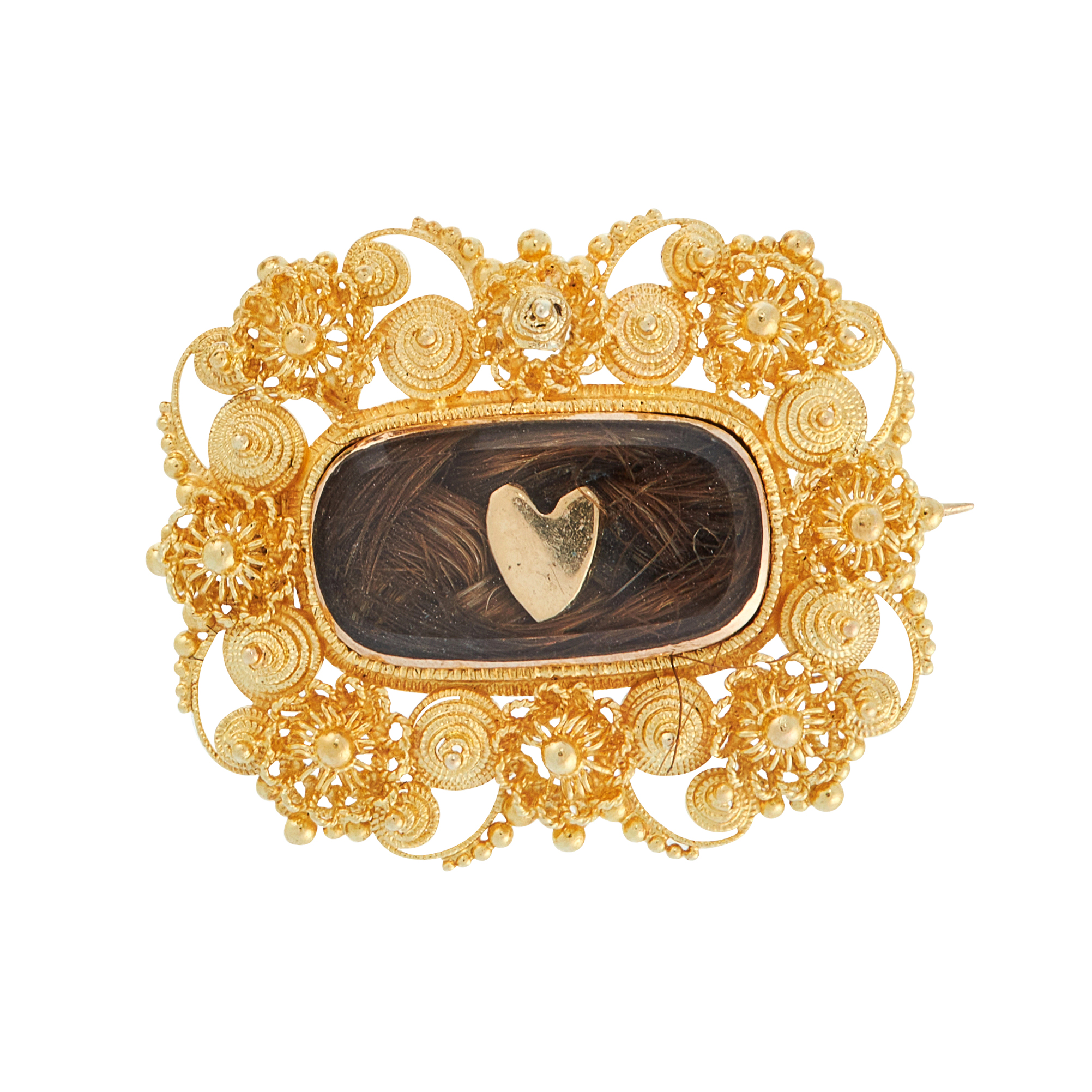 AN ANTIQUE HAIRWORK MOURNING BROOCH in high carat yellow gold, comprising of a central hairwork