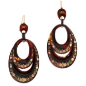 A PAIR OF ANTIQUE PIQUE TORTOISESHELL EARRINGS in oval design, set with two articulated oval