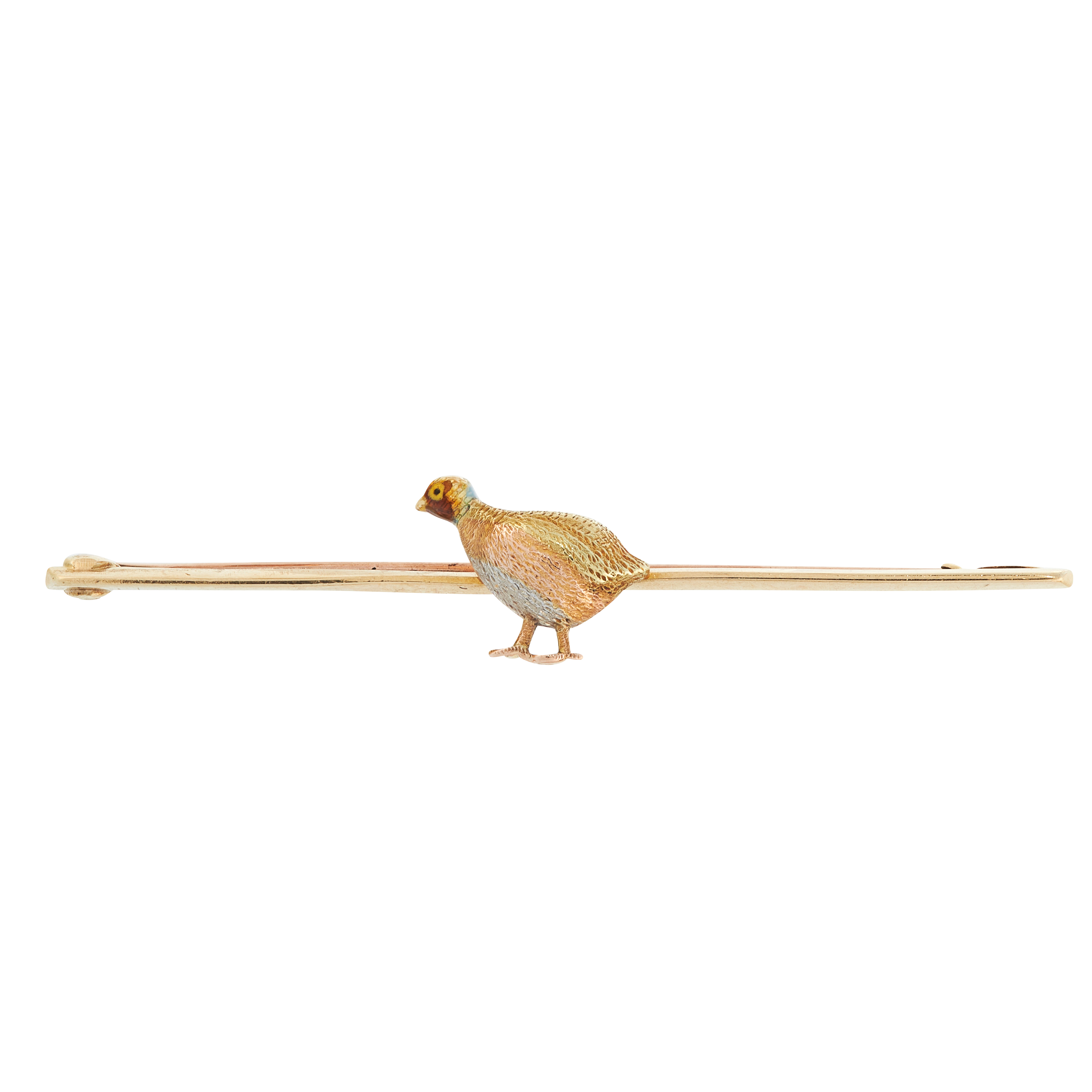 AN ANTIQUE ENAMEL QUAIL BAR BROOCH in 15ct yellow gold, comprising of a tricolour quail decorated
