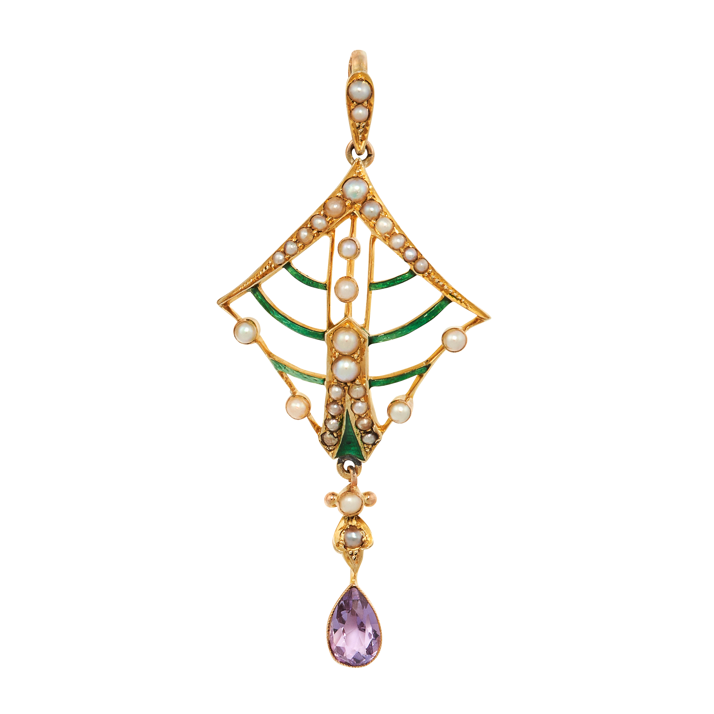 AN ANTIQUE AMETHYST, ENAMEL AND PEARL SUFFRAGETTE PENDANT, CIRCA 1900 in 15ct yellow gold, set