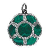 AN ANTIQUE MALACHITE VINAIGRETTE PENDANT in silver, in circular design, set with a central