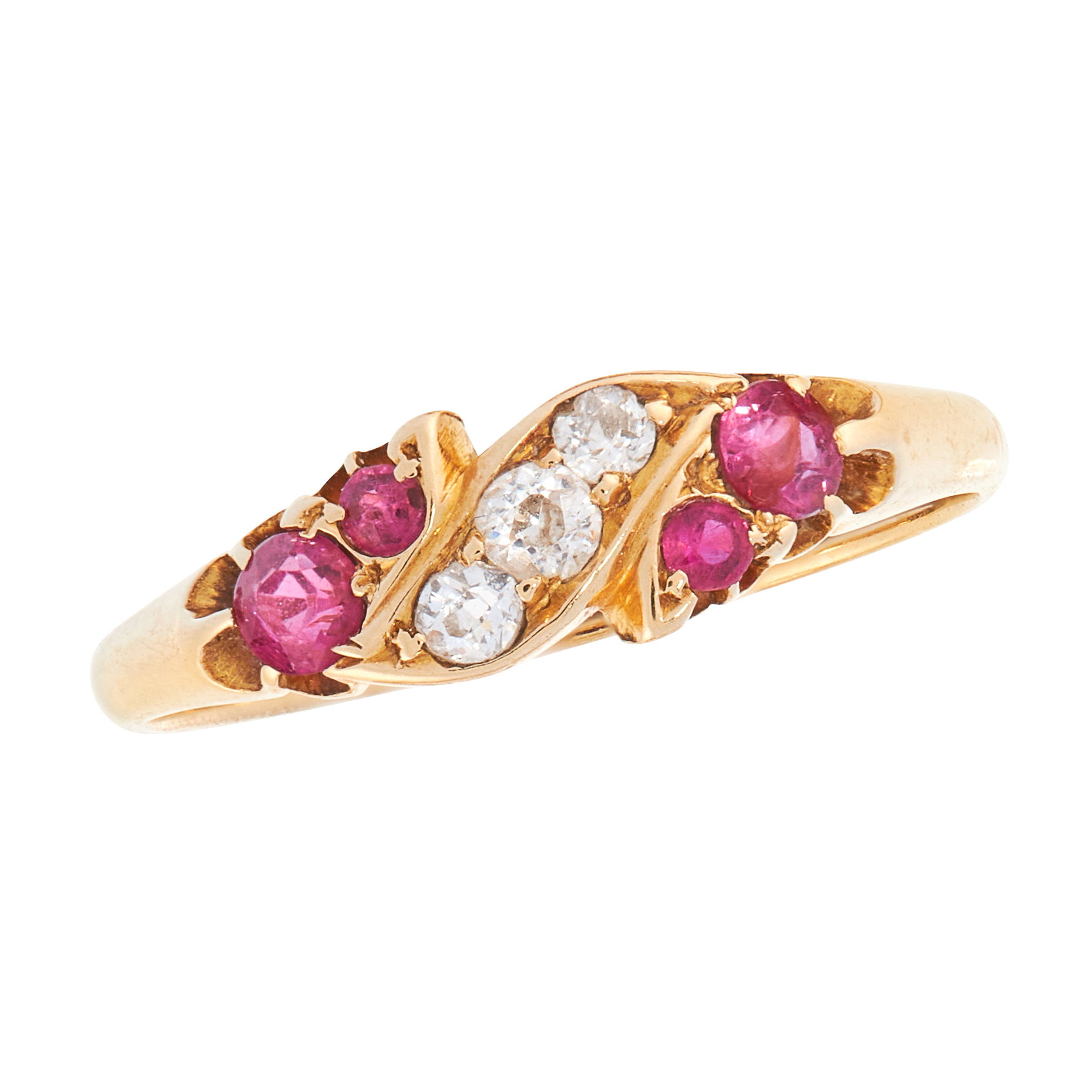 AN ANTIQUE RUBY AND DIAMOND DRESS RING, 1908 in 18ct yellow gold, the stylised scrolling band set