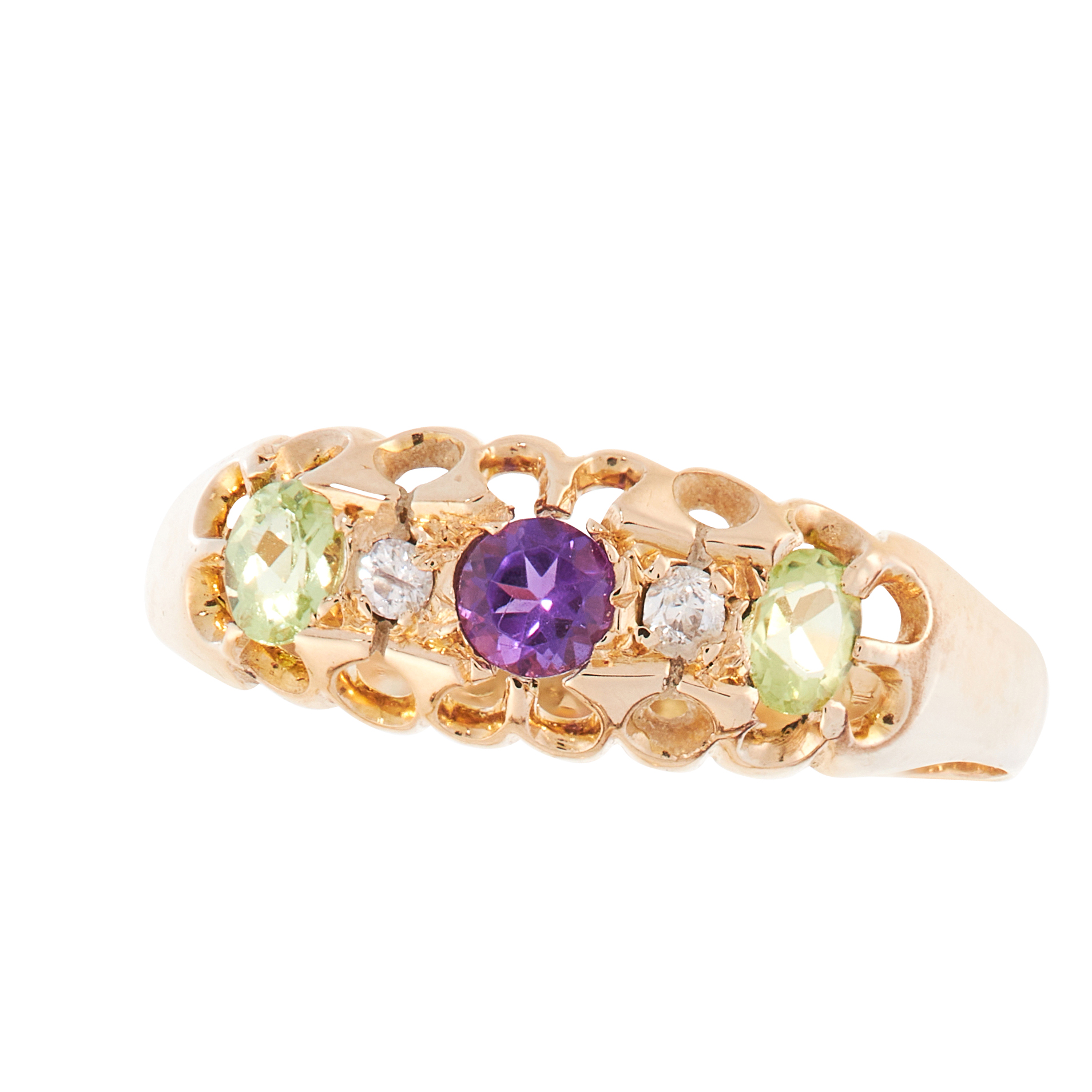 AN ANTIQUE PERIDOT, DIAMOND AND AMETHYST SUFFRAGETTE DRESS RING, 1907 in 18ct yellow gold, set