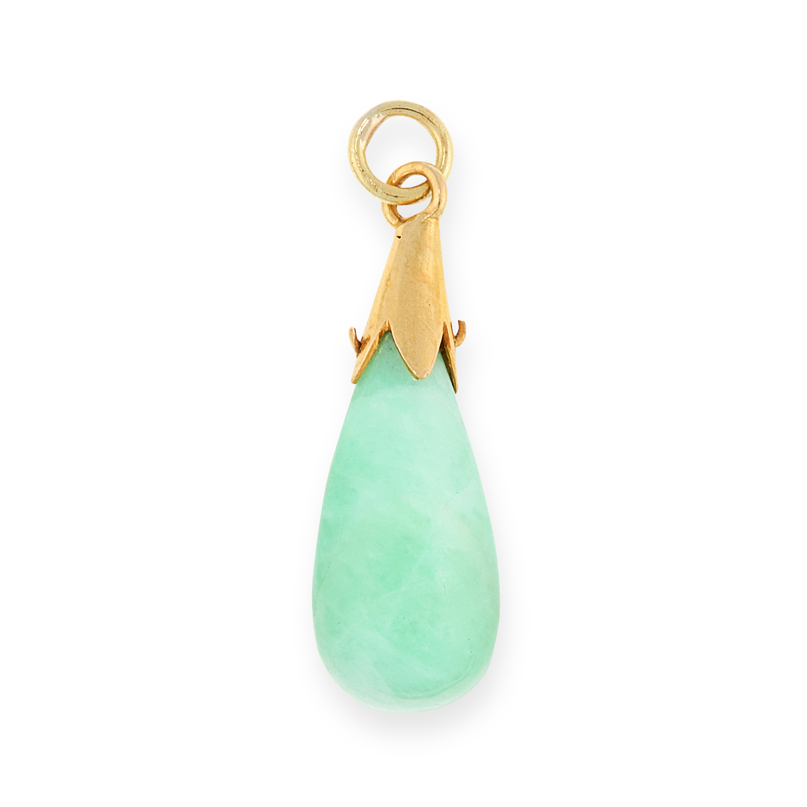 A JADEITE JADE PENDANT in yellow gold, comprising of a single piece of polished jadeite jade in