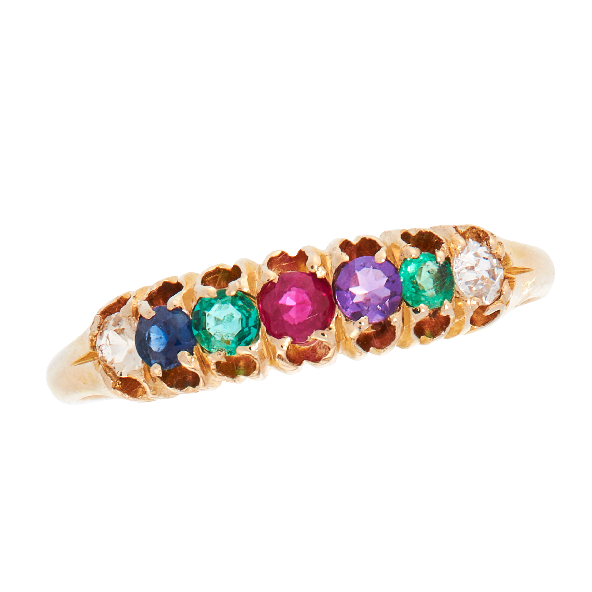 AN ANTIQUE GEMSET DEAREST DRESS RING, 19TH CENTURY in 18ct yellow gold, set with a row of seven