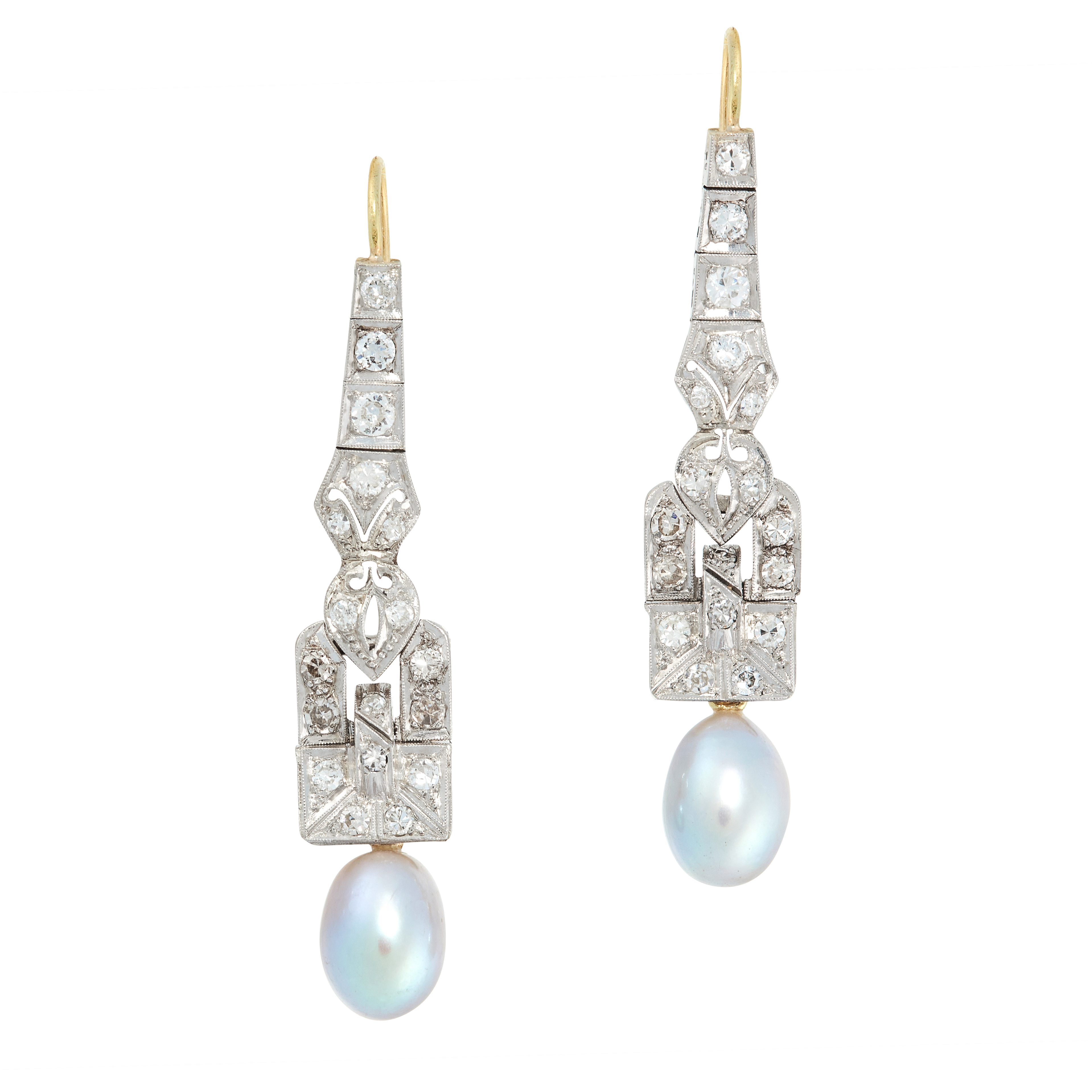 A PAIR OF ART DECO PEARL AND DIAMOND EARRINGS, EARLY 20TH CENTURY in platinum and yellow gold, the