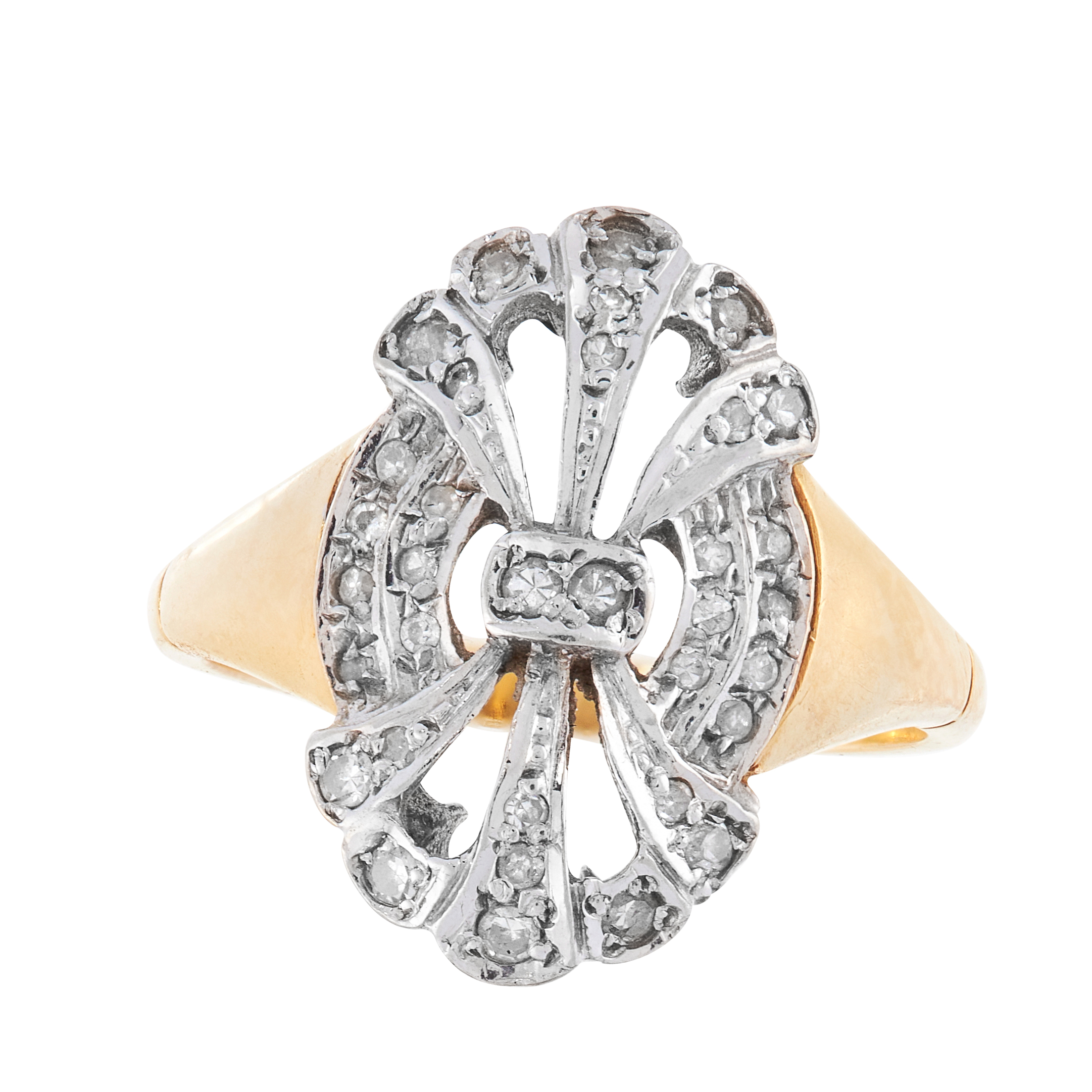 A DIAMOND DRESS RING in 18ct yellow gold, the stylised face of openwork design, set with single