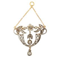 AN ANTIQUE DIAMOND PENDANT, 19TH CENTURY in yellow gold and silver, of foliate design, set with rose