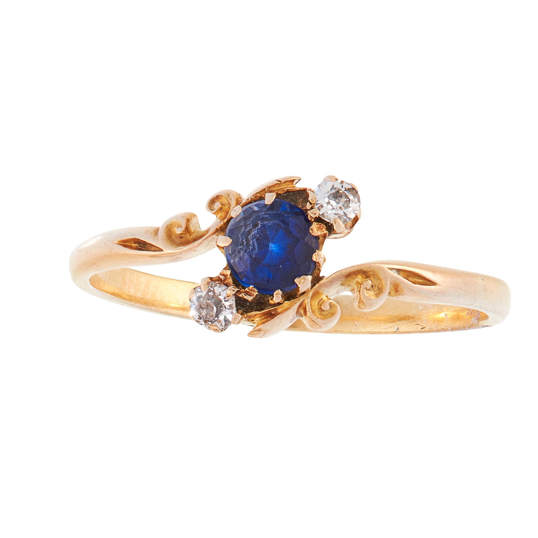 AN ANTIQUE VICTORIAN SAPPHIRE AND DIAMOND DRESS RING, 1894 in 15ct yellow gold, set with a trio of
