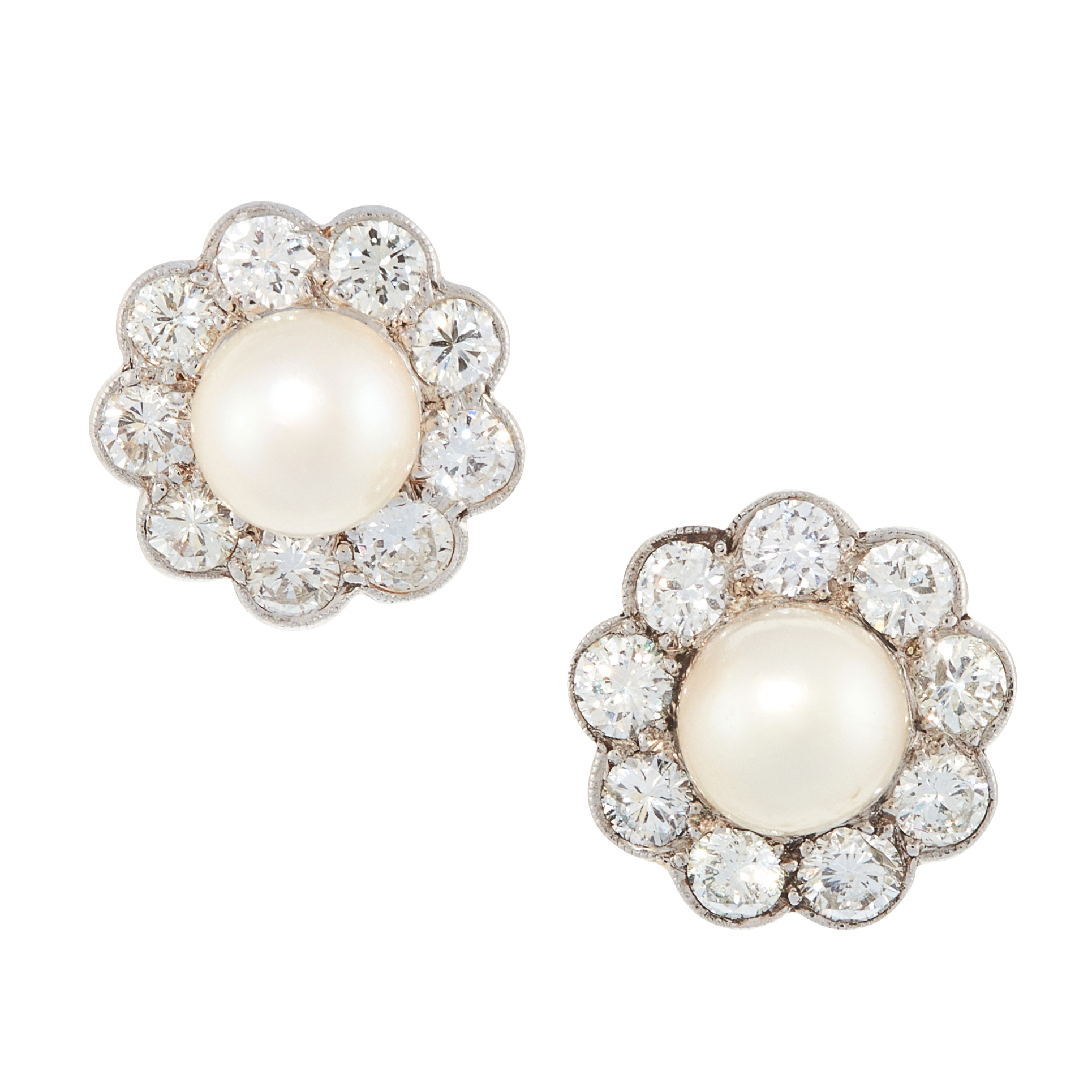 A PAIR OF PEARL AND DIAMOND STUD EARRINGS each set with a pearl of 6.8mm and 6.7mm, within borders