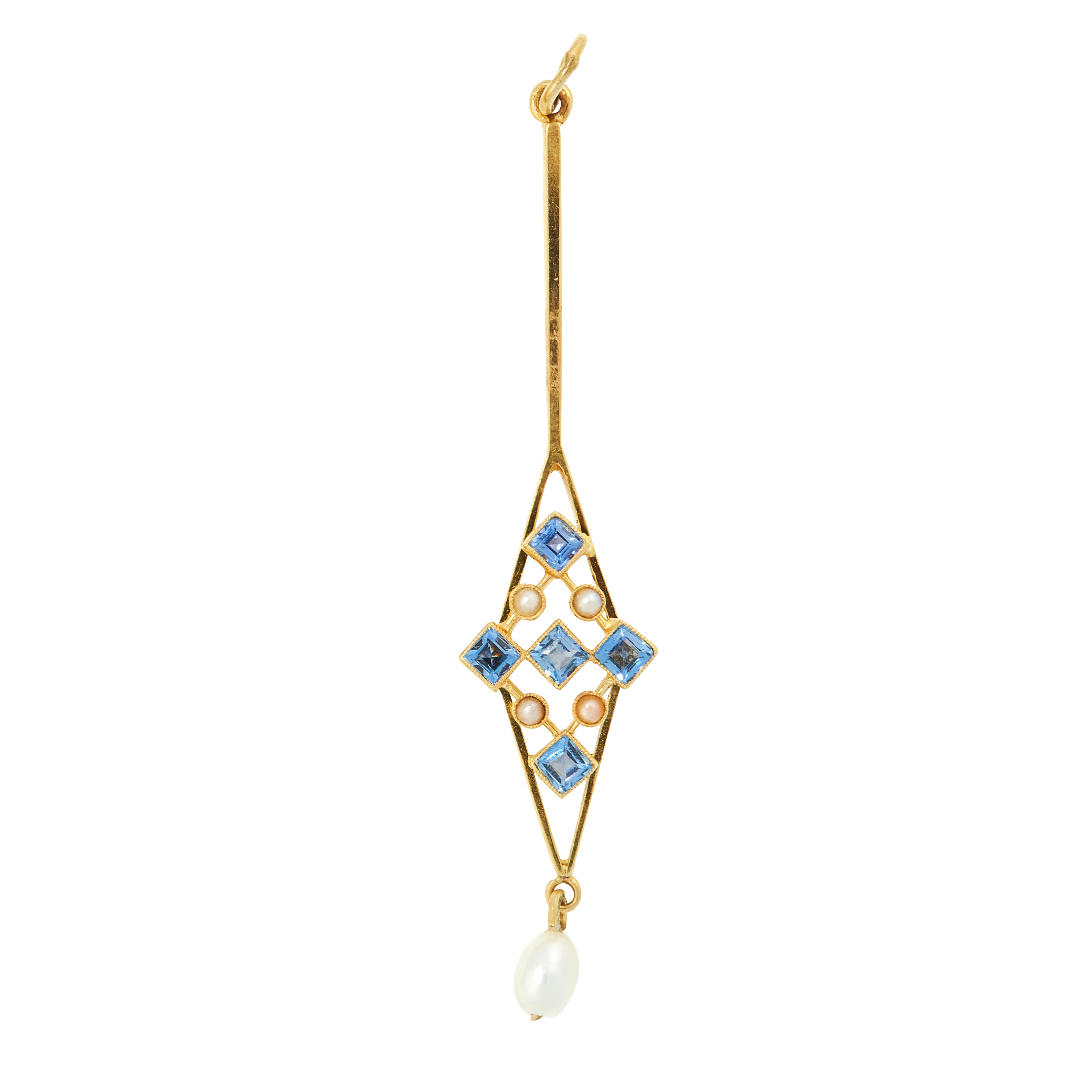 AN ANTIQUE SAPPHIRE AND PEARL PENDANT, EARLY 20TH CENTURY in high carat yellow gold, the elongated