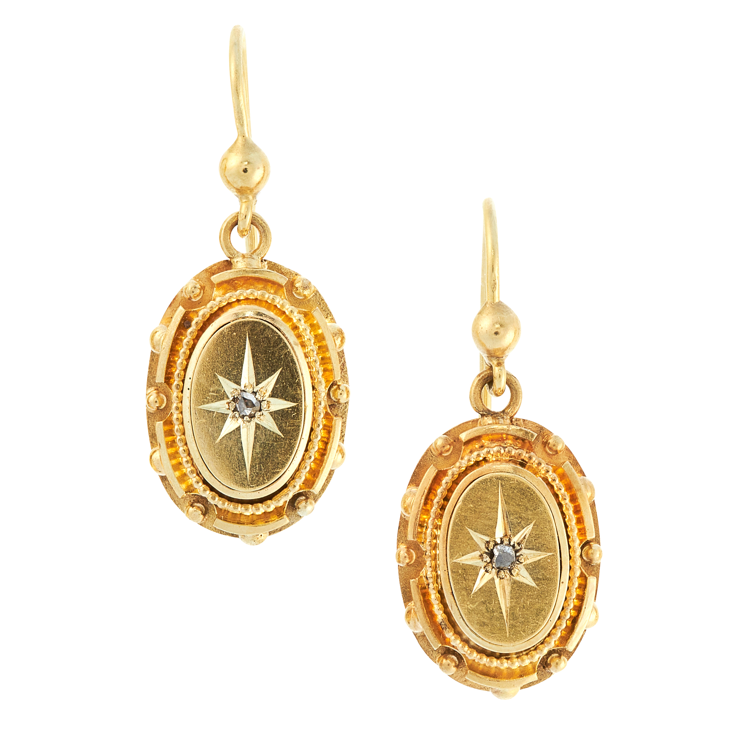 A PAIR OF ANTIQUE DIAMOND EARRINGS, 19TH CENTURY in 15ct yellow gold, the oval bodies set at the