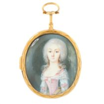 AN ANTIQUE PORTRAIT MINIATURE MOURNING LOCKET PENDANT, 19TH CENTURY in high carat yellow gold, set