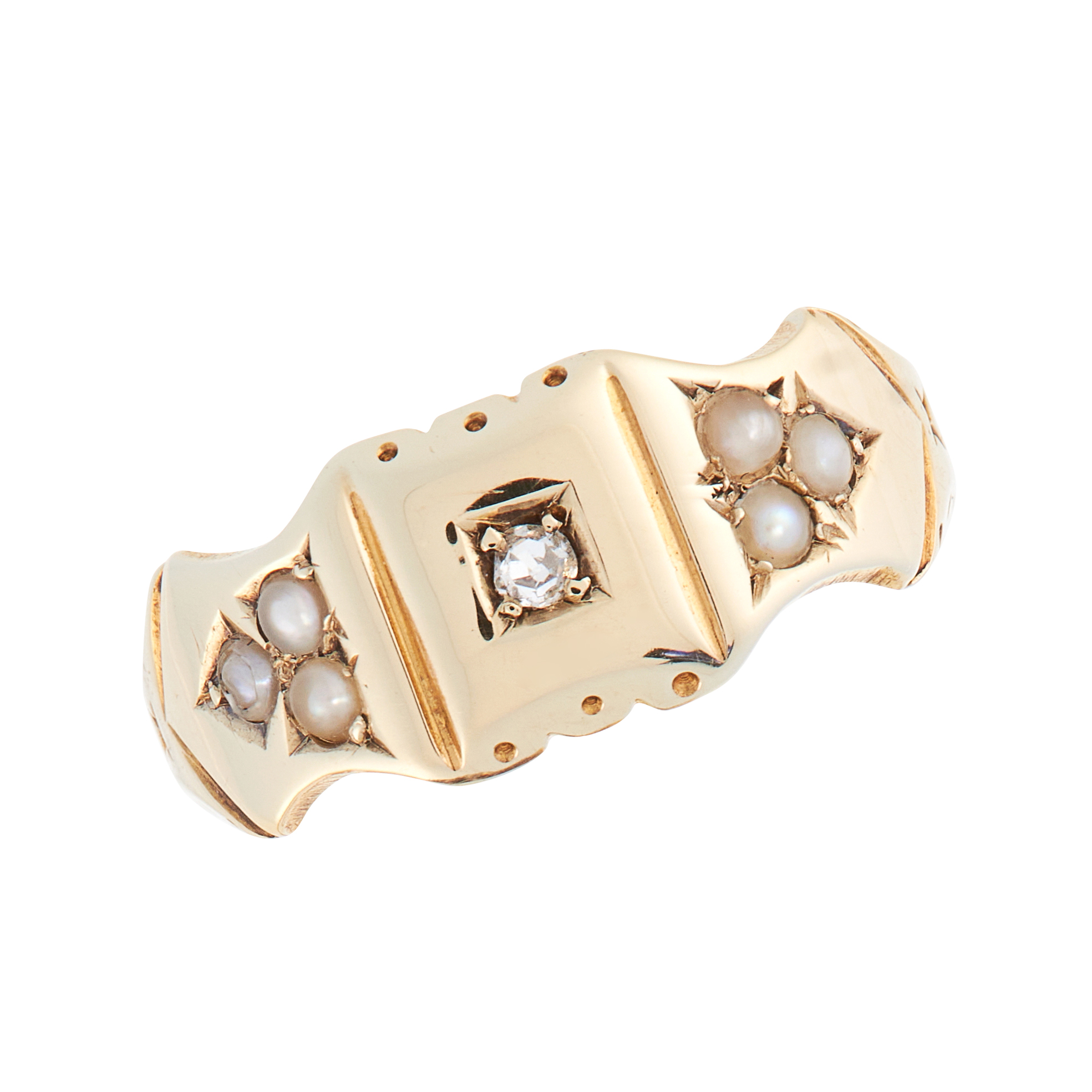 AN ANTIQUE VICTORIAN DIAMOND AND PEARL DRESS RING, 1888 in 15ct yellow gold, set with a single cut