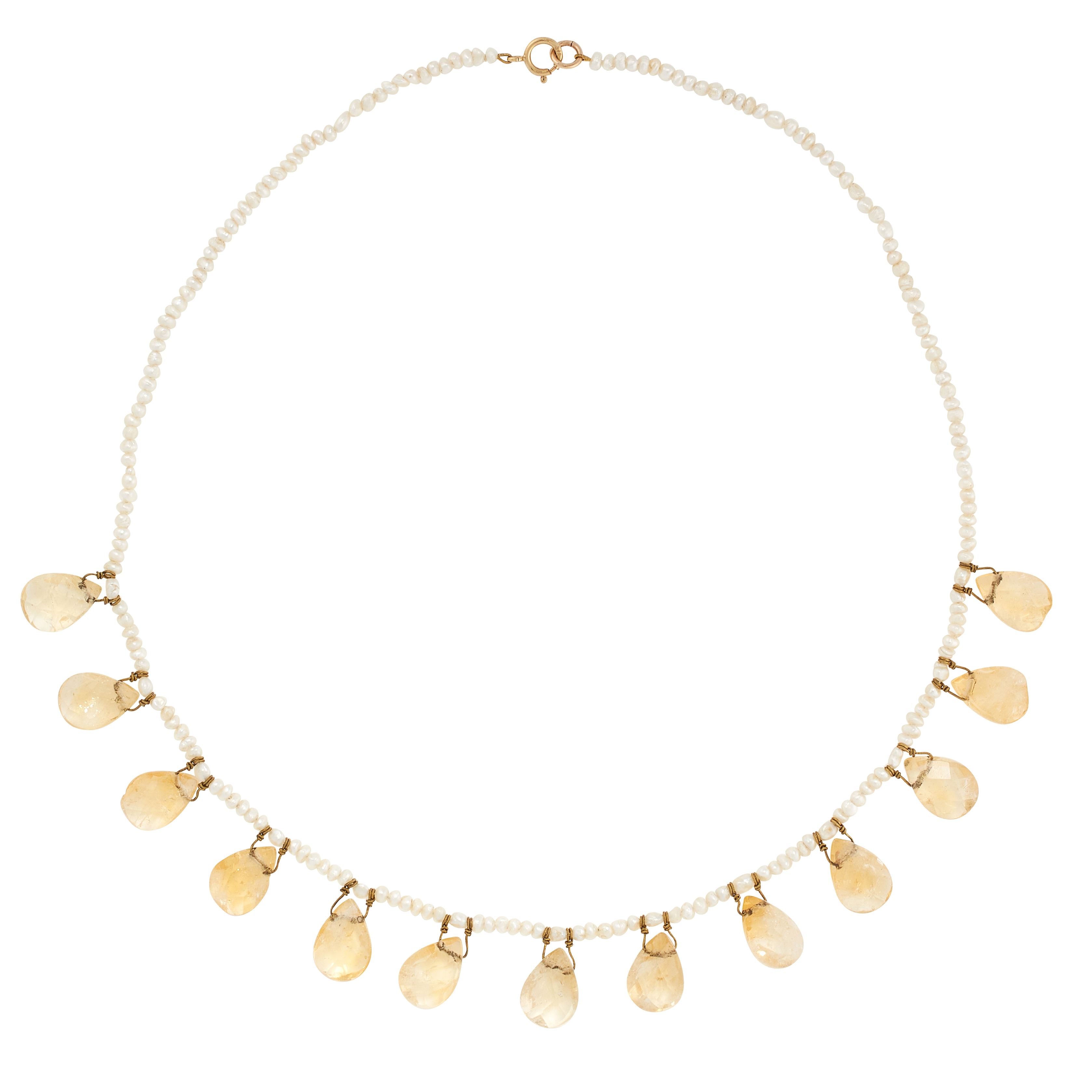 AN ANTIQUE CITRINE AND PEARL NECKLACE, 19TH CENTURY in yellow gold, comprising a single row of
