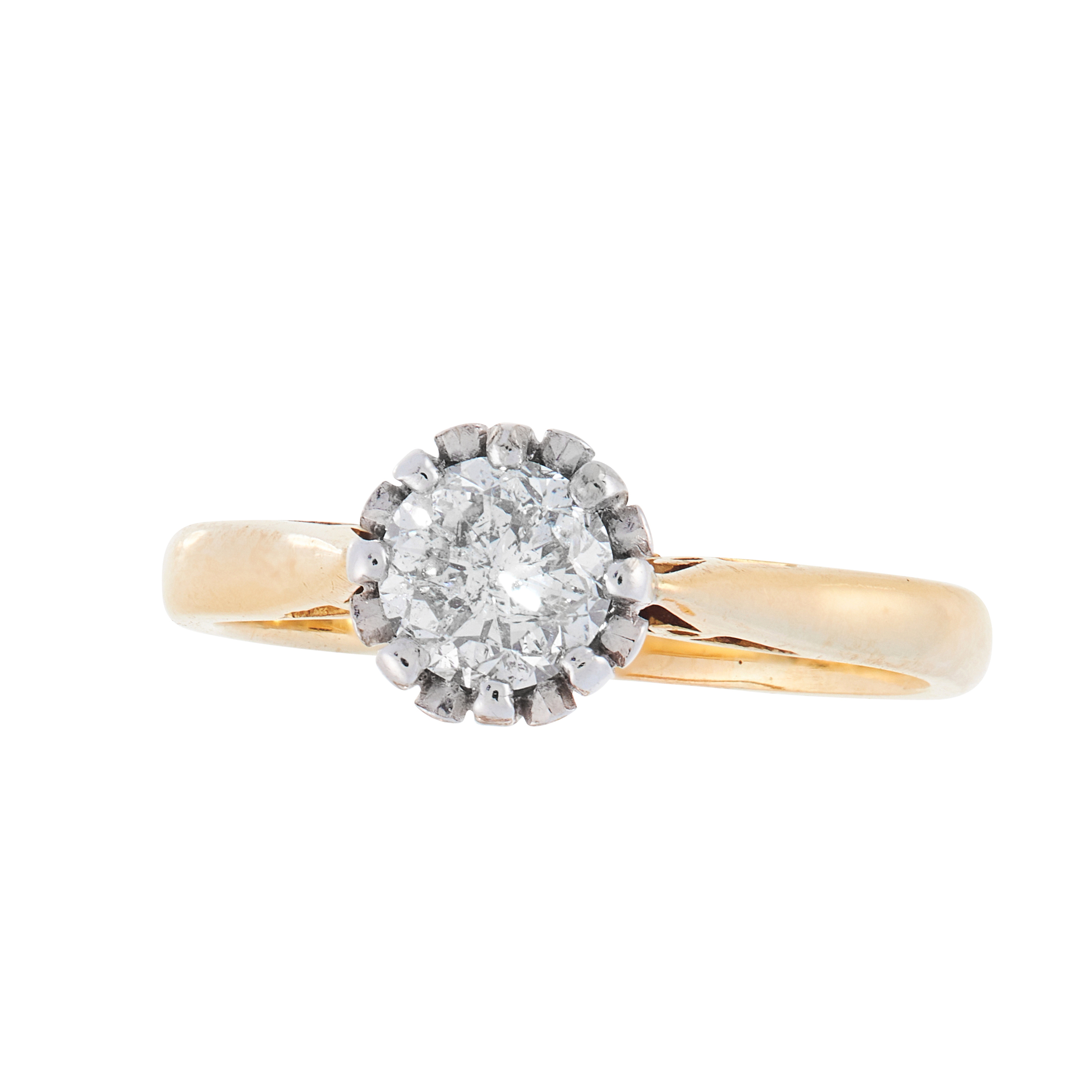 A SOLITAIRE DIAMOND DRESS RING in 18ct yellow gold, set with a round cut diamond of 0.75 carats,