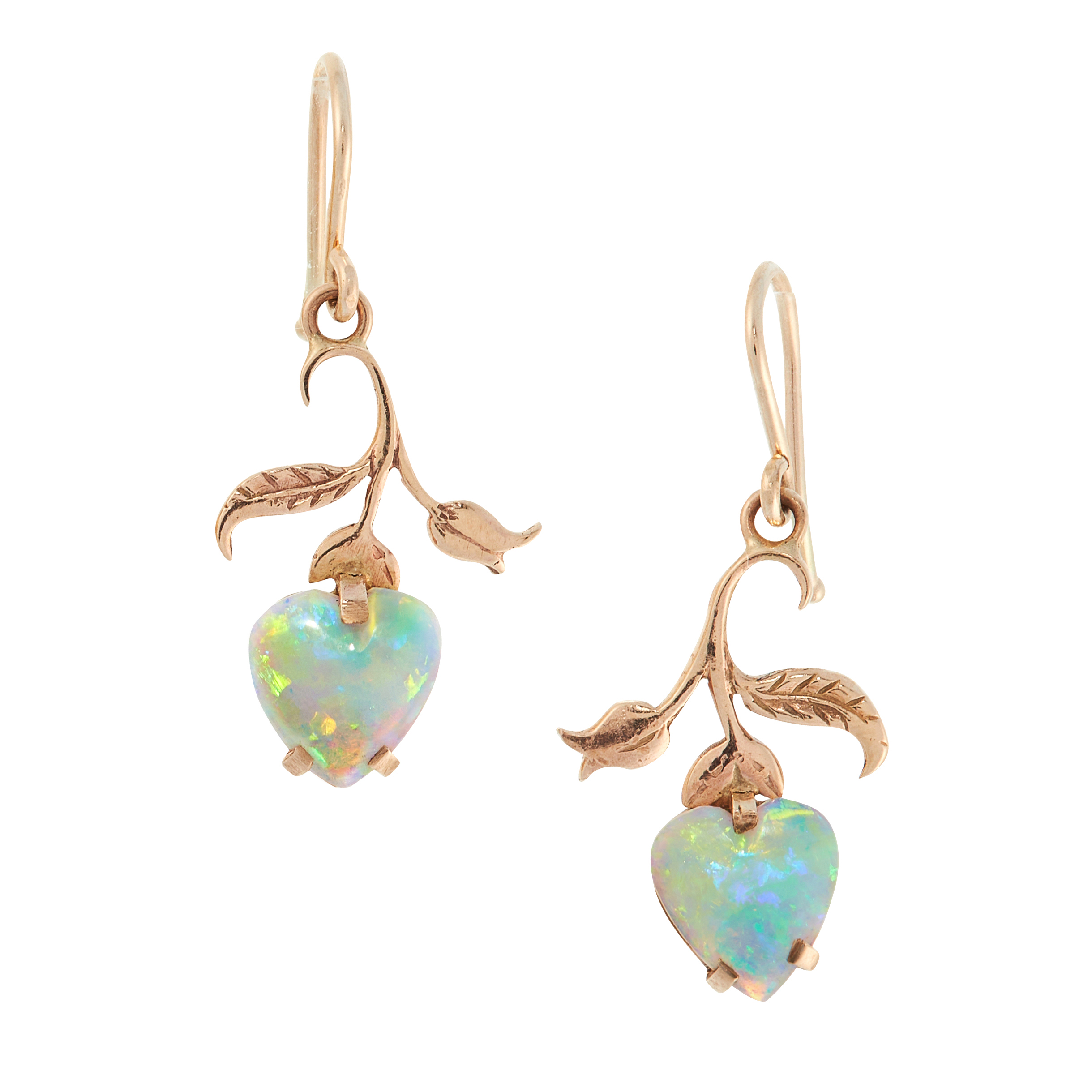 A PAIR OF OPAL EARRINGS in high carat yellow gold, each set with a heart shaped opal cabochon