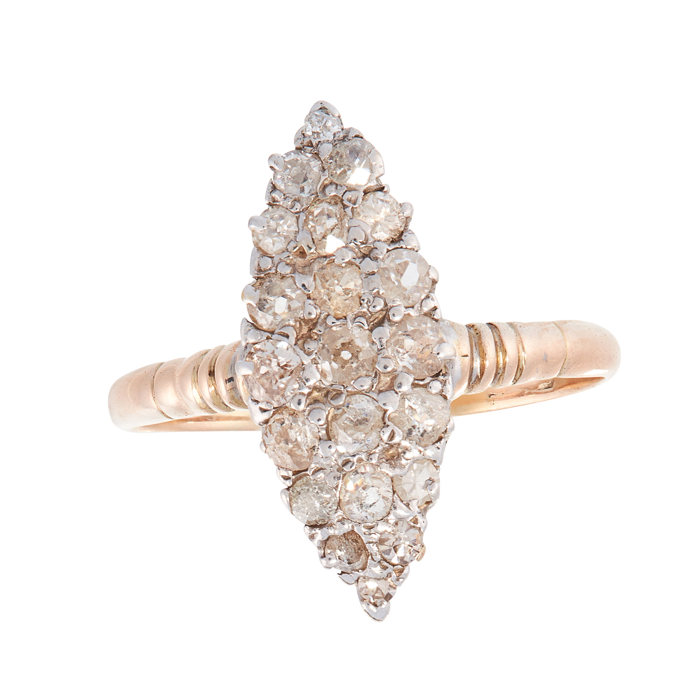 AN ANTIQUE DIAMOND DRESS RING, CIRCA 1900 the marquise shaped face set with old cut diamonds, marked
