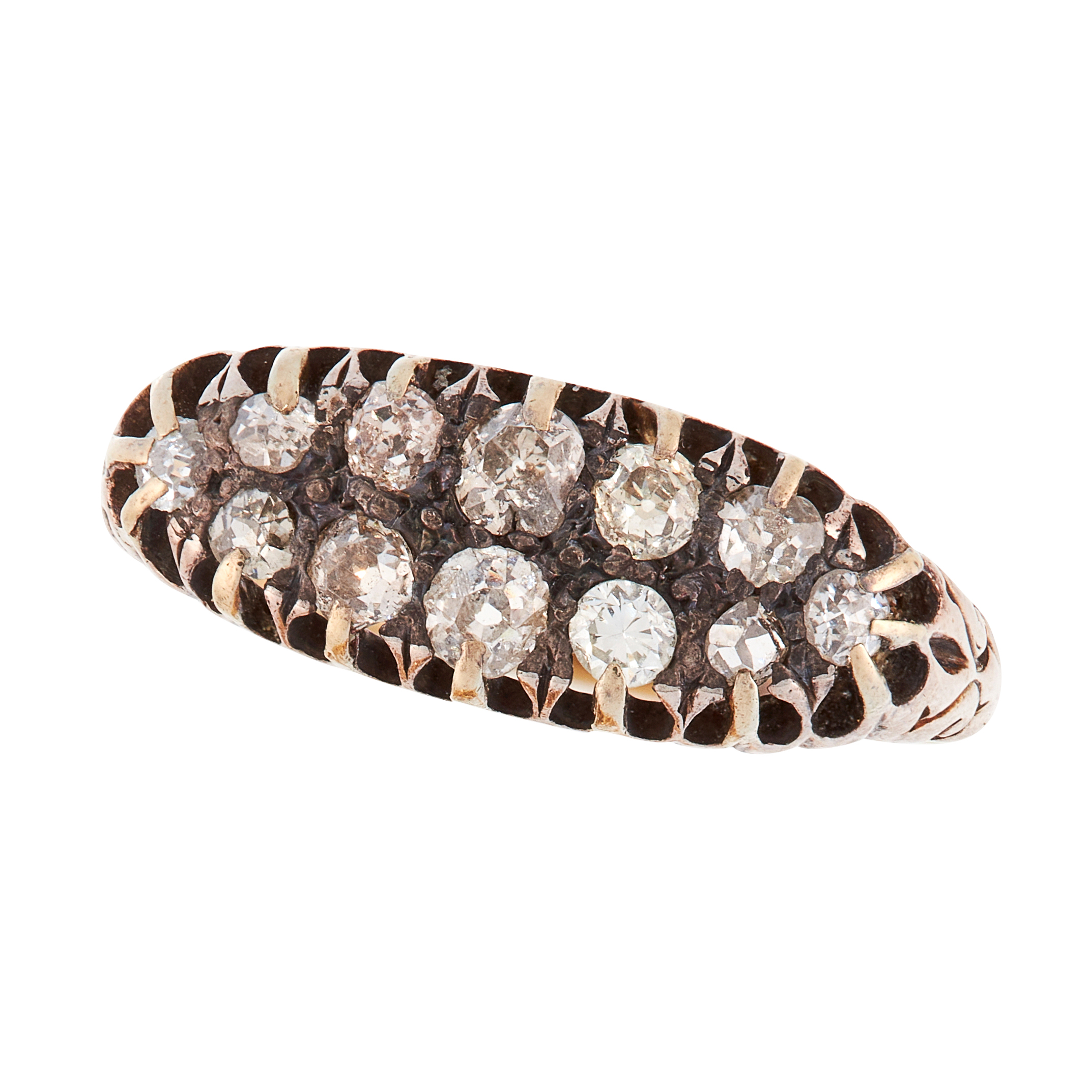 AN ANTIQUE DIAMOND HALF ETERNITY BAND RING, 19TH CENTURY in high carat yellow gold, the face set