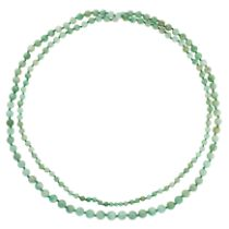 A JADEITE JADE BEAD NECKLACE comprising a single row of graduated polished jadeite beads ranging 9.
