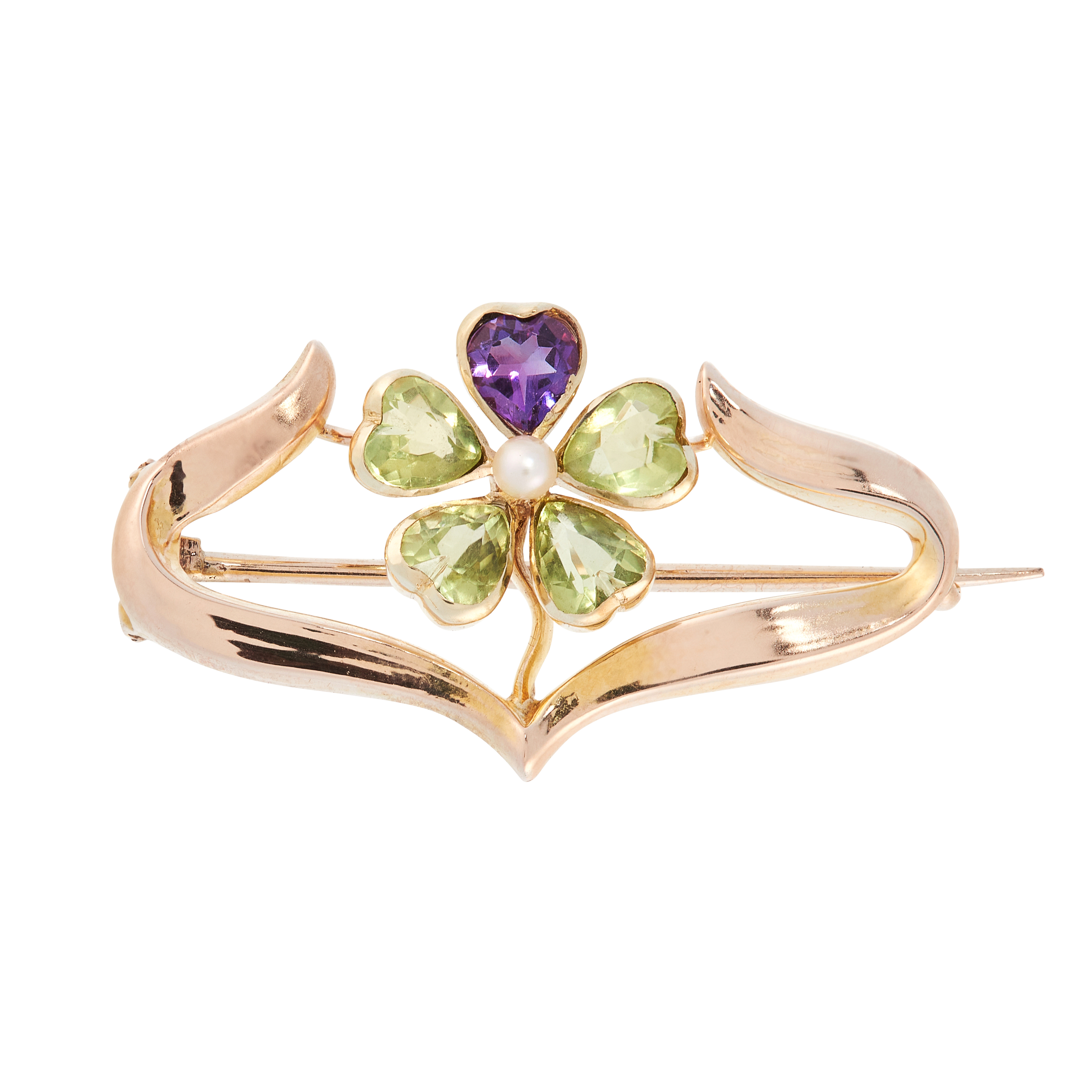 AN ANTIQUE PERIDOT, AMETHYST AND PEARL SUFFRAGETTE BROOCH, CIRCA 1900 in 15ct yellow gold,