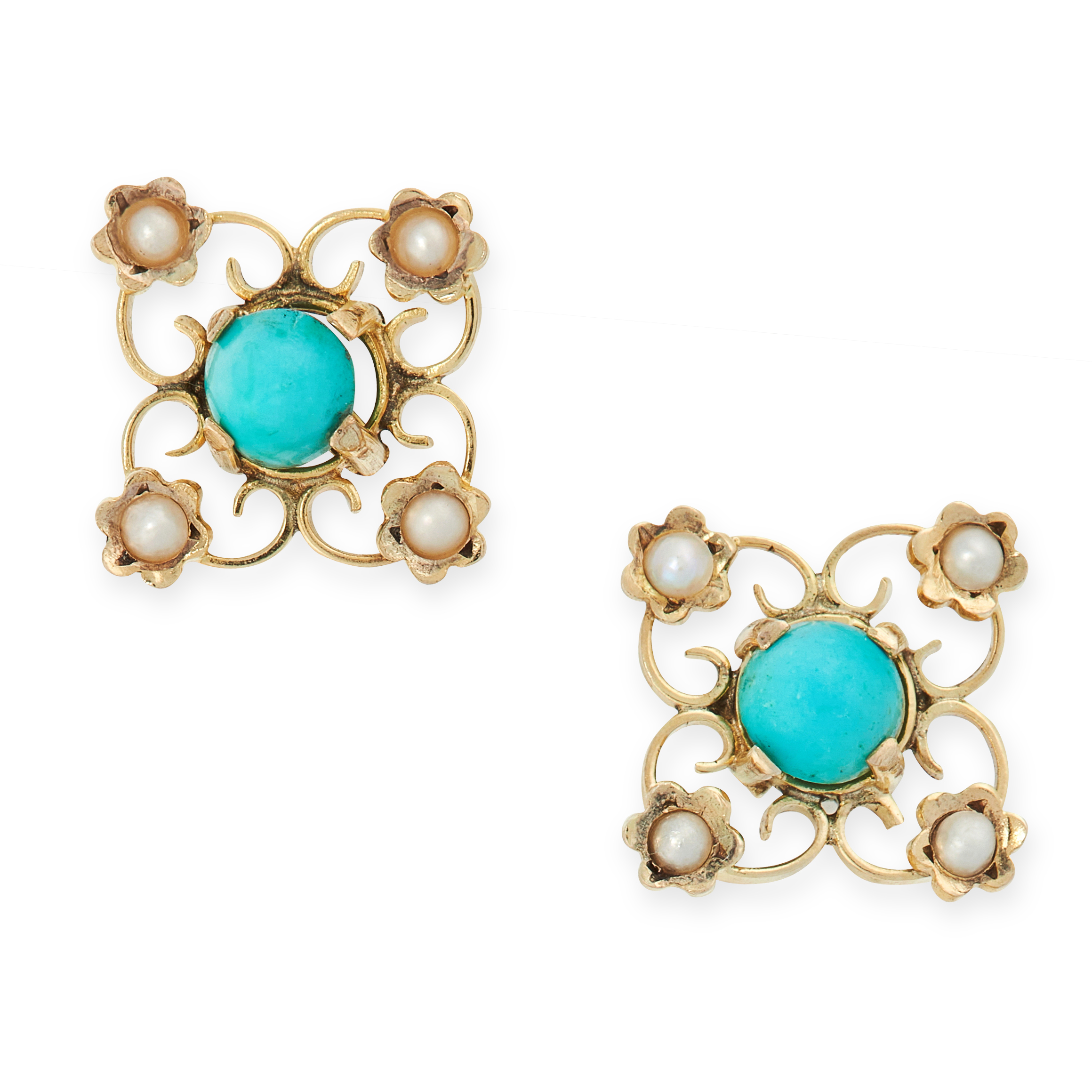 A PAIR OF ANTIQUE TURQUOISE AND PEARL STUD EARRINGS in yellow gold, each set with a cabochon
