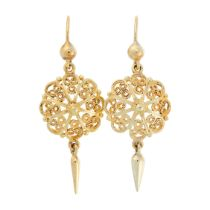 A PAIR OF GOLD DROP EARRINGS in the form of a circular filigree pendant suspending a gold tassel,