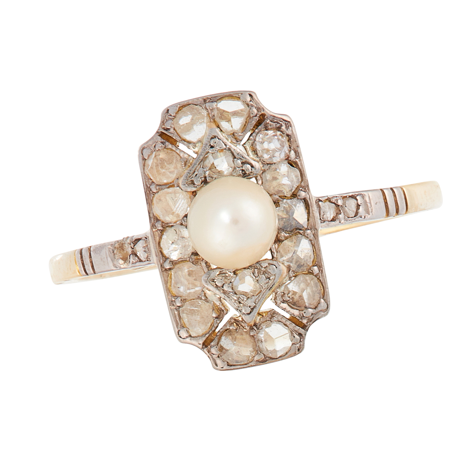 AN ART DECO PEARL AND DIAMOND DRESS RING, CIRCA 1925 in high carat yellow gold, the face set with