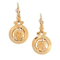 A PAIR OF ANTIQUE DROP EARRINGS, 19TH CENTURY in yellow gold, the circular bodies with grape and