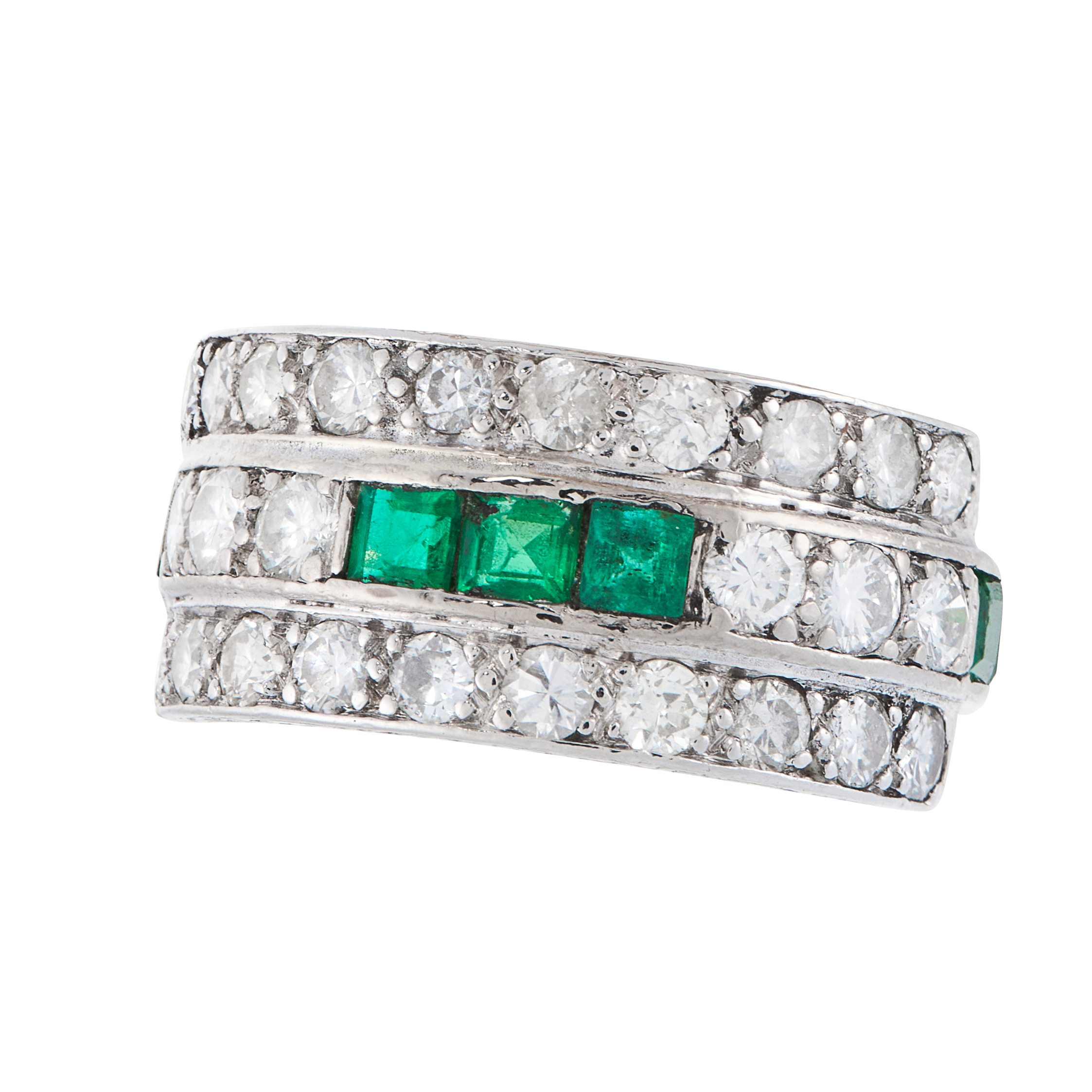 AN EMERALD AND DIAMOND DRESS RING, CIRCA 1940 in platinum, the band set alternately with rows of