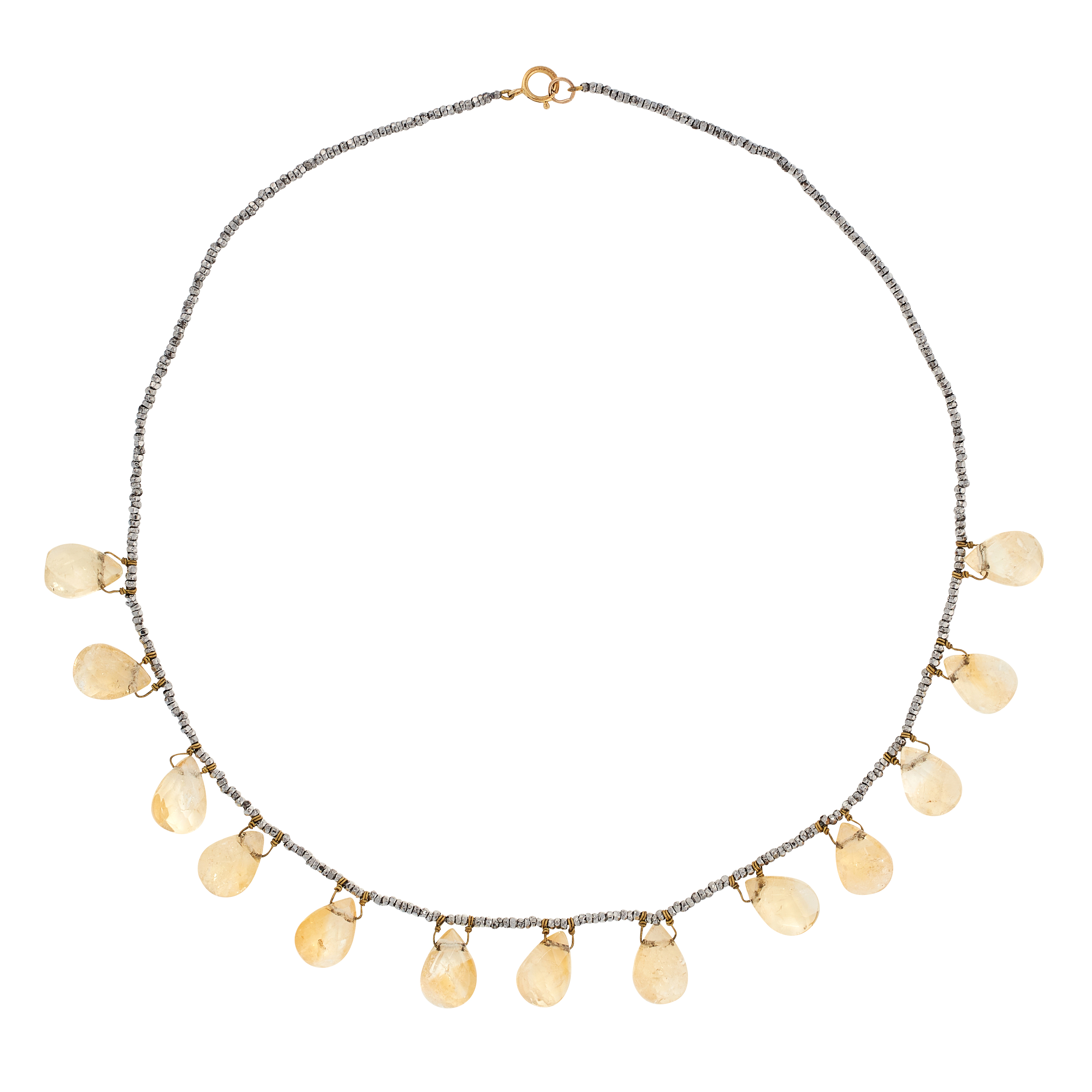 AN ANTIQUE CITRINE AND CUT STEEL NECKLACE in yellow gold, comprising a row of faceted steel beads,