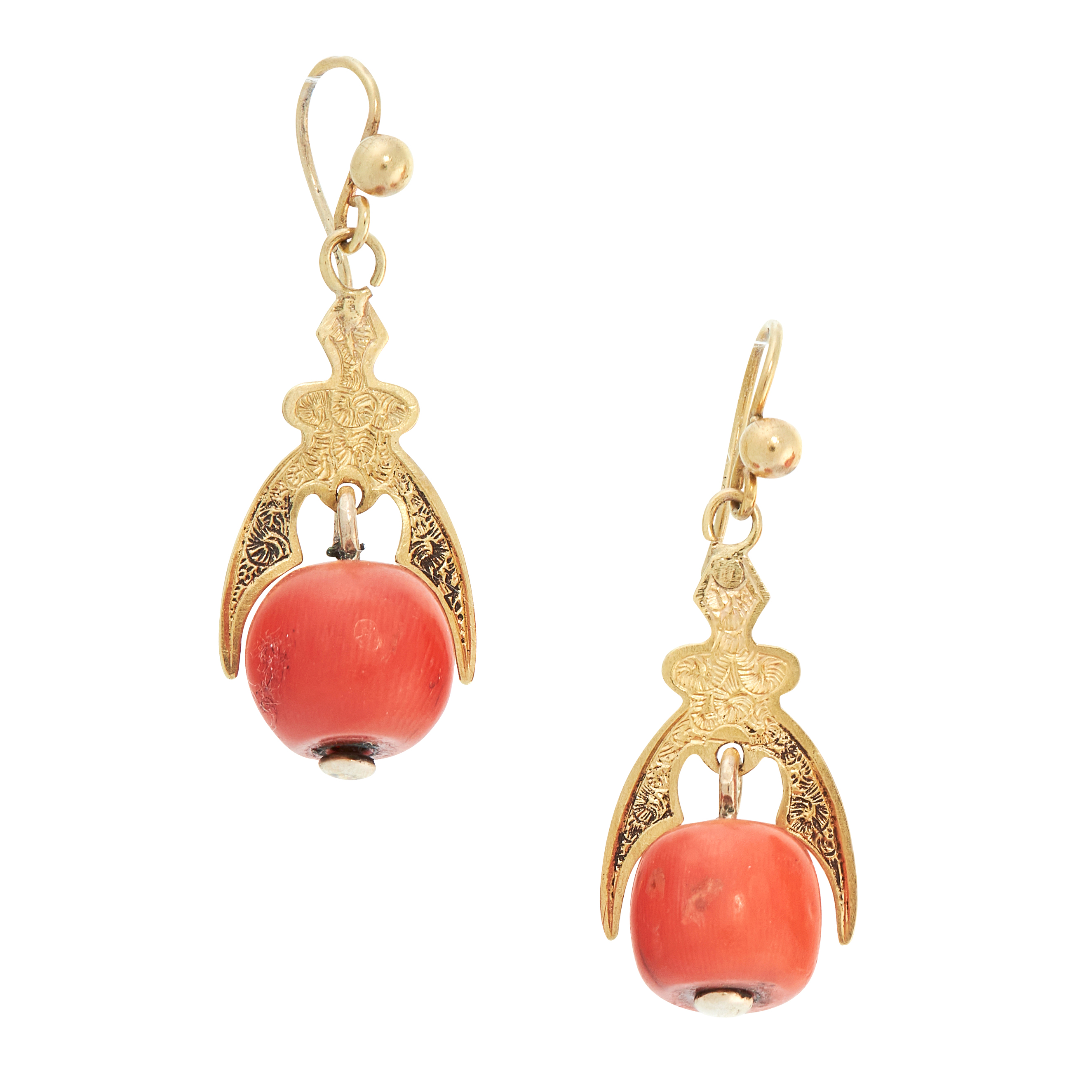 A PAIR OF ANTIQUE CORAL DROP EARRINGS, 19TH CENTURY in high carat yellow gold, each set with a