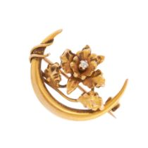 AN ANTIQUE DIAMOND CRESCENT MOON BROOCH, 19TH CENTURY in yellow gold, designed as a crescent moon