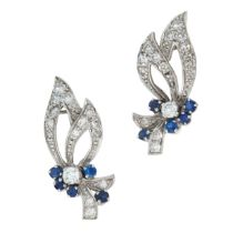 A PAIR OF SAPPHIRE AND DIAMOND EARRINGS in the form of a flower spray, set with round cut