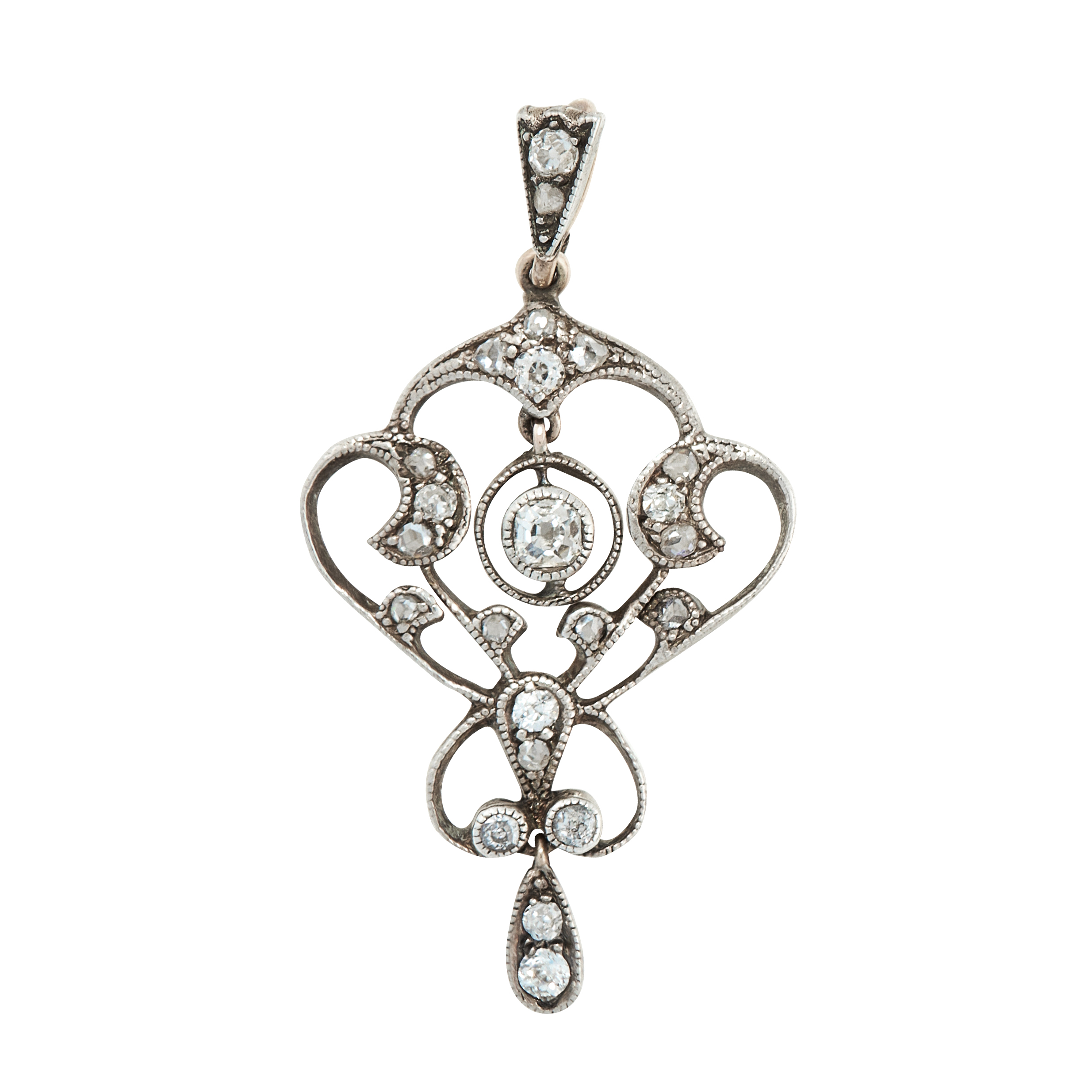 AN ANTIQUE DIAMOND PENDANT, EARLY 20TH CENTURY of scrolling design, set with old cut and rose cut