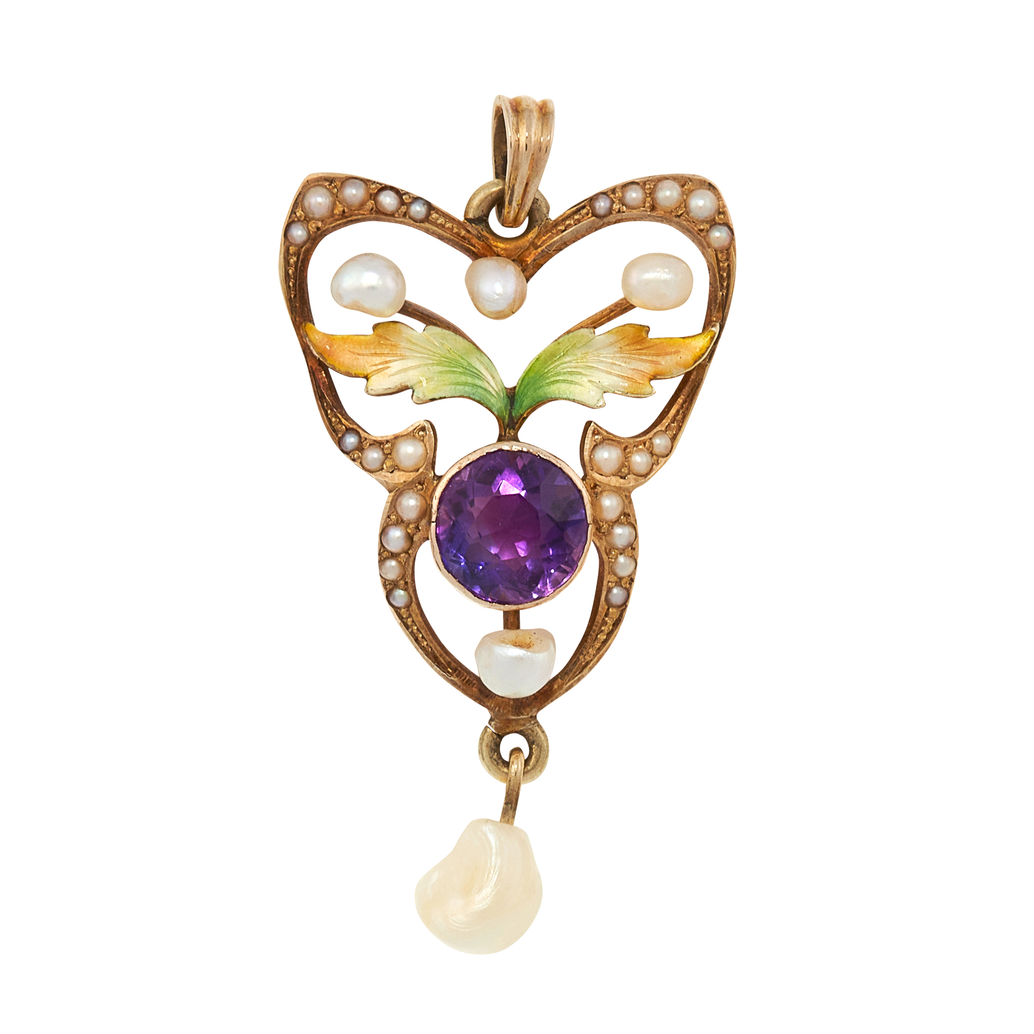 AN ANTIQUE AMETHYST, PEARL AND ENAMEL SUFFRAGETTE PENDANT, CIRC 1900 in yellow gold, set with a