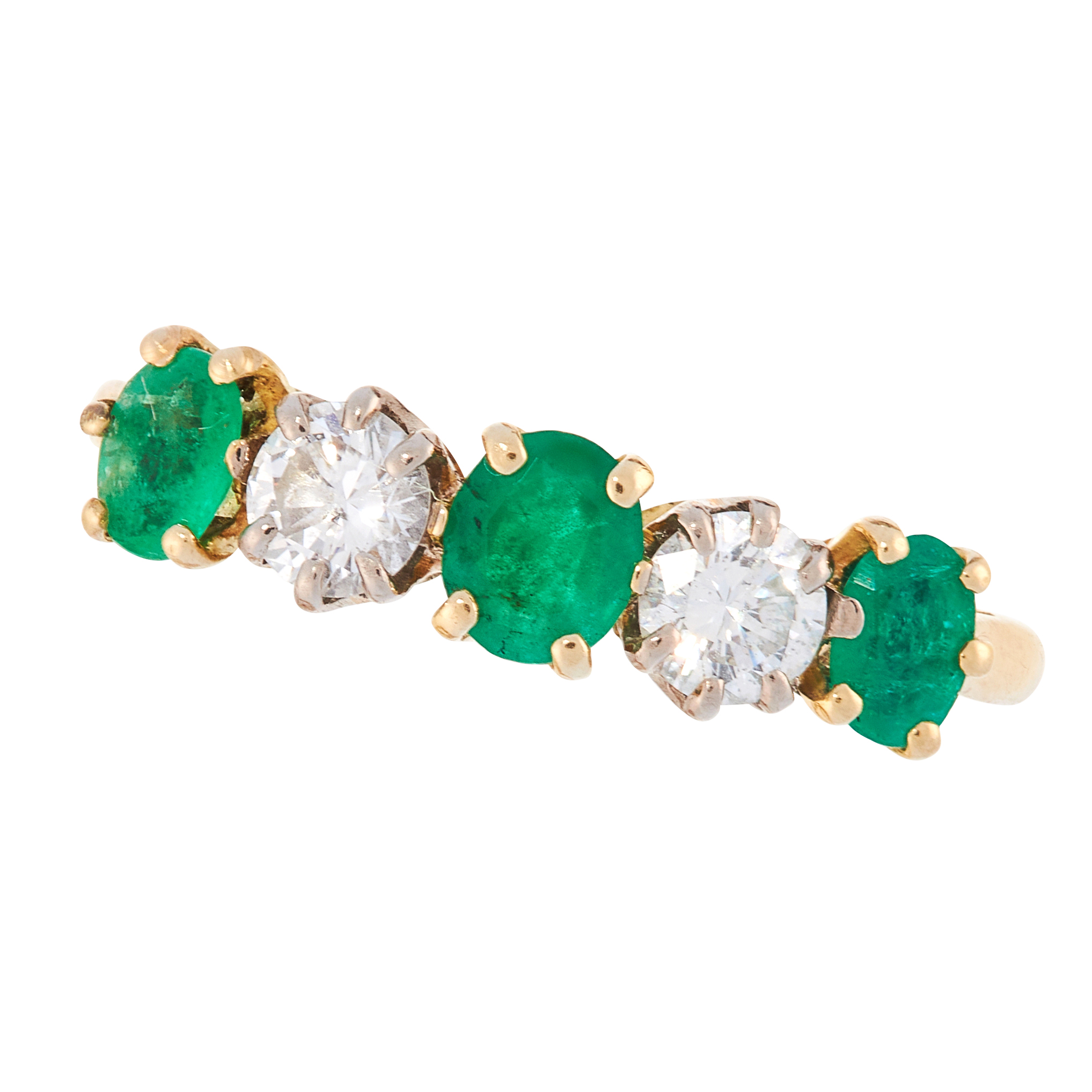 AN EMERALD AND DIAMOND DRESS RING in 18ct yellow gold, set with a trio of graduated oval cut