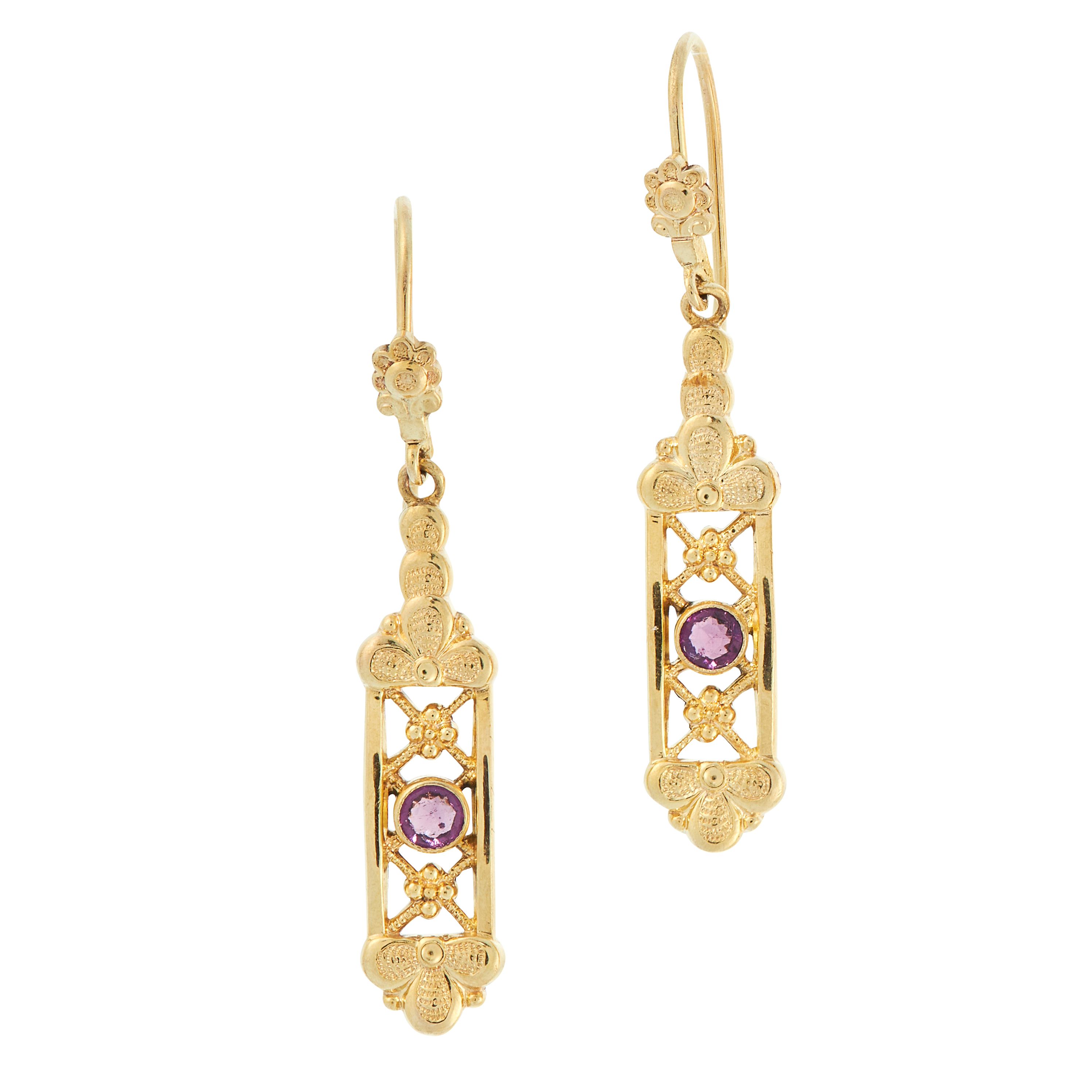 A PAIR OF AMETHYST DROP EARRINGS in yellow gold, each set with a round cut amethyst accented by