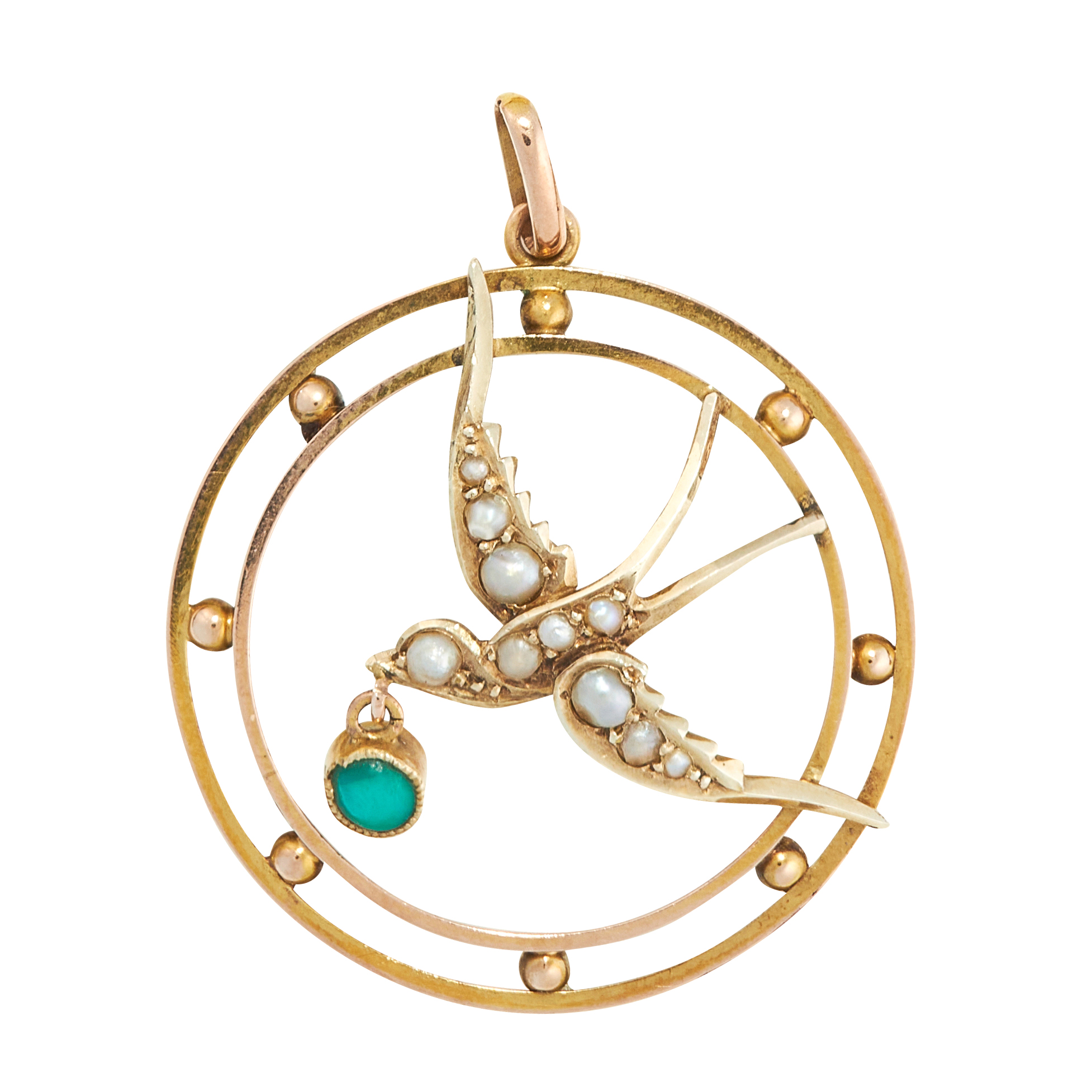 AN ANTIQUE TURQUOISE AND PEARL PENDANT, CIRCA 1900 in yellow gold, of circular design, set at the